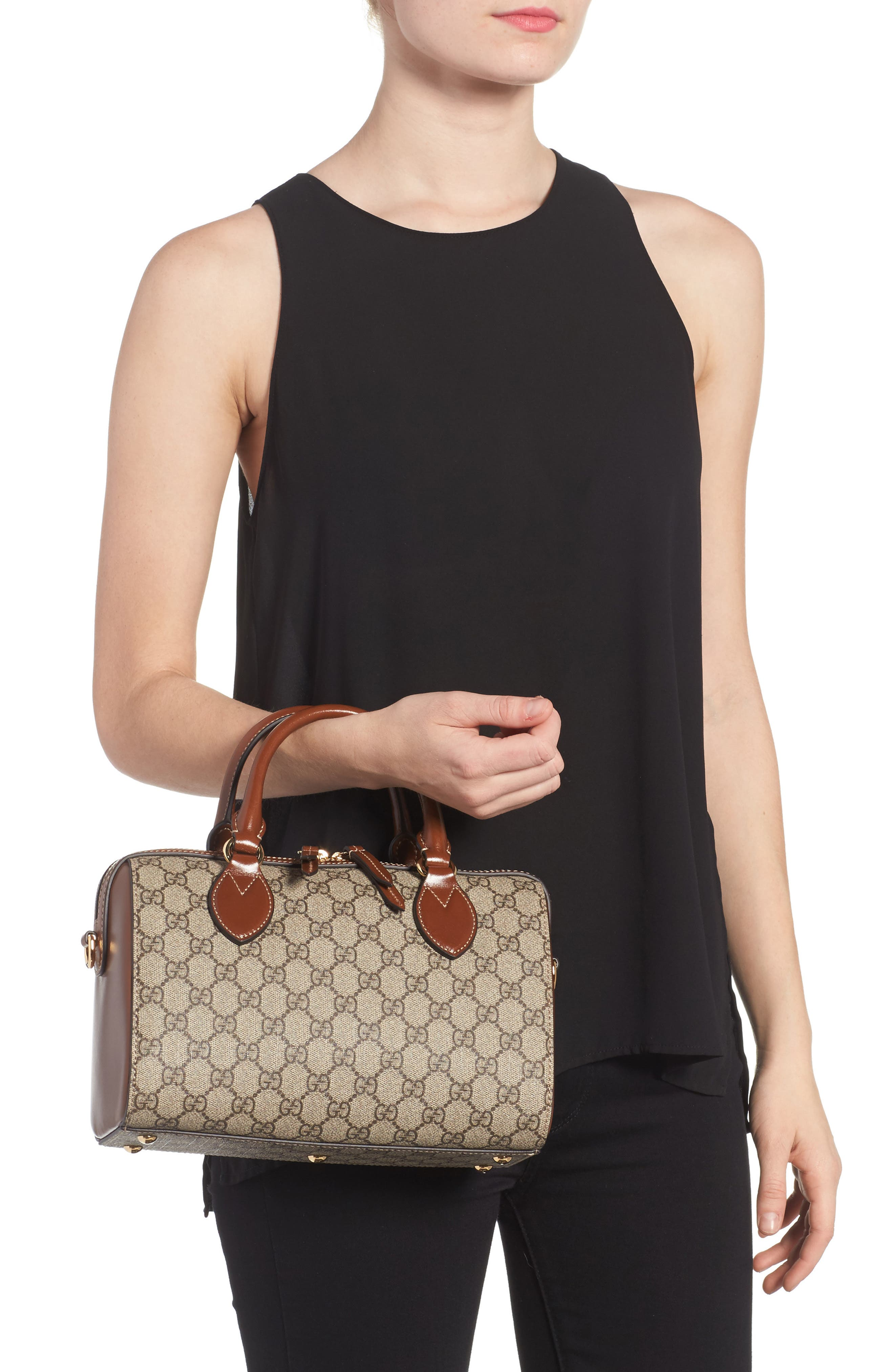 Linea Top Handle GG Supreme Canvas & Leather Bag,                             Alternate thumbnail 2, color,                             Beige/ Ebony/ Cuir
