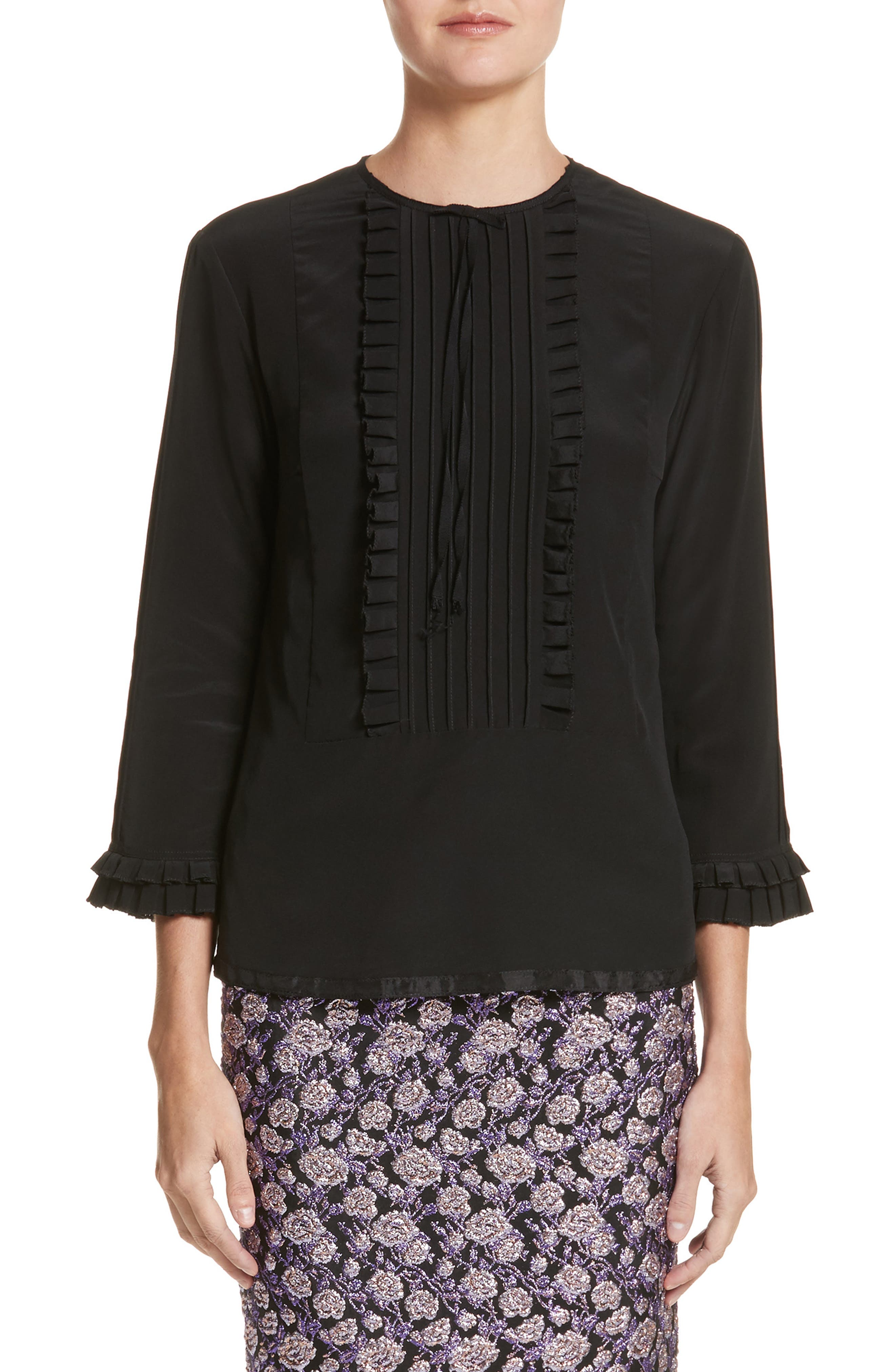 MARC JACOBS Pleated Ruffle Silk Blouse
