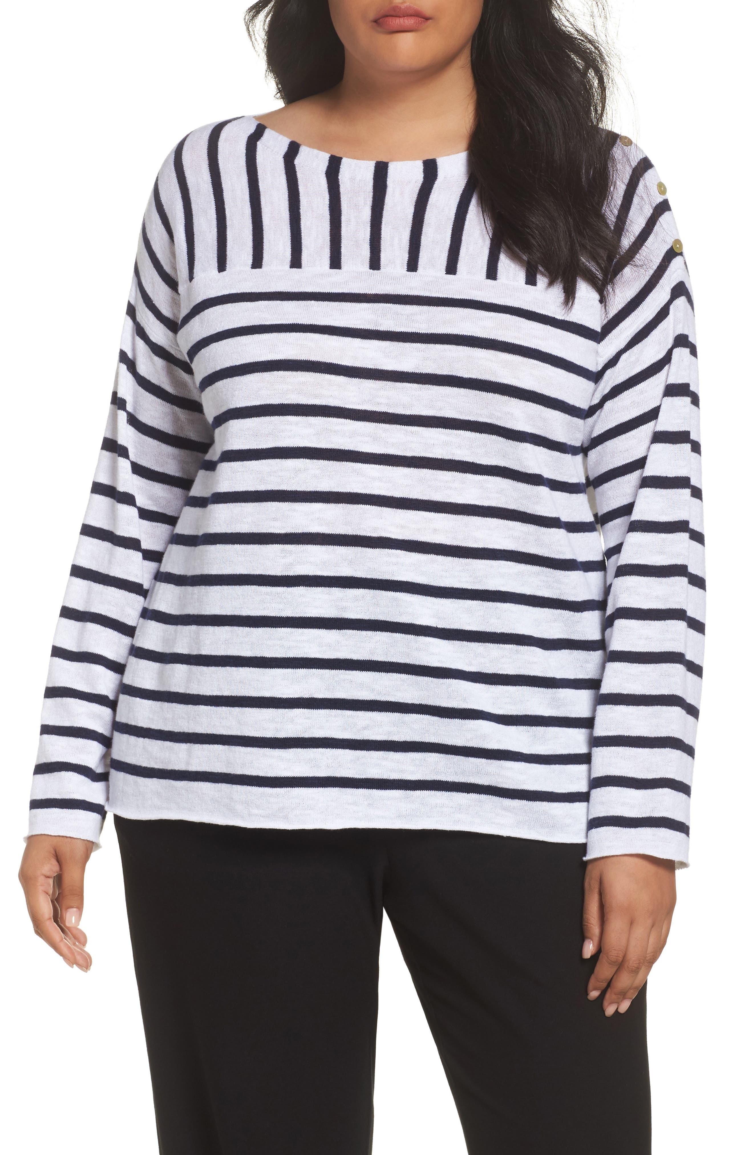 Eileen Fisher Stripe Organic Linen & Cotton Top (Plus Size)