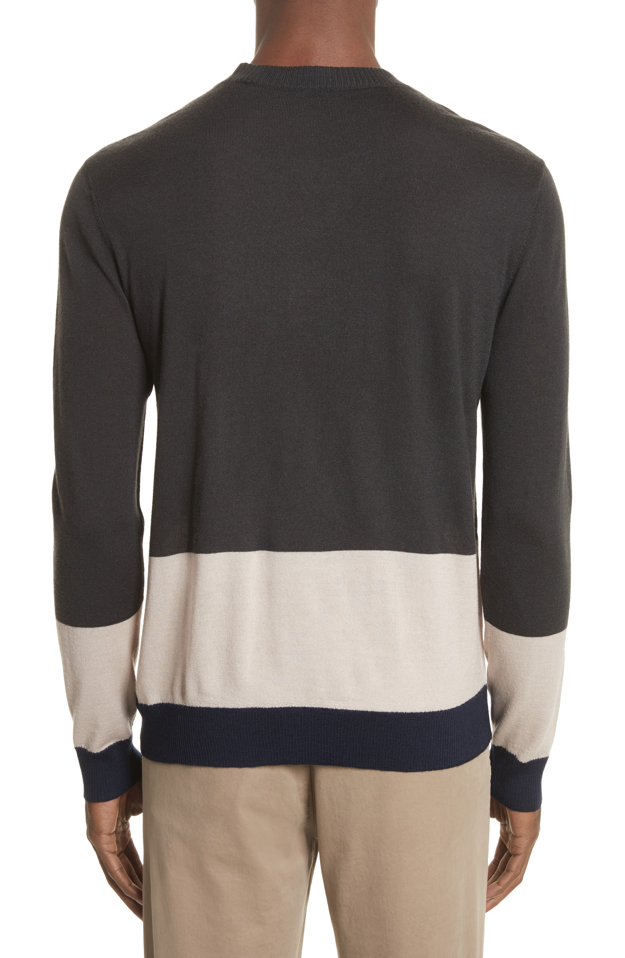 Colorblock Merino Wool Sweater,                             Alternate thumbnail 2, color,                             Beige/ Slate/ Midnight