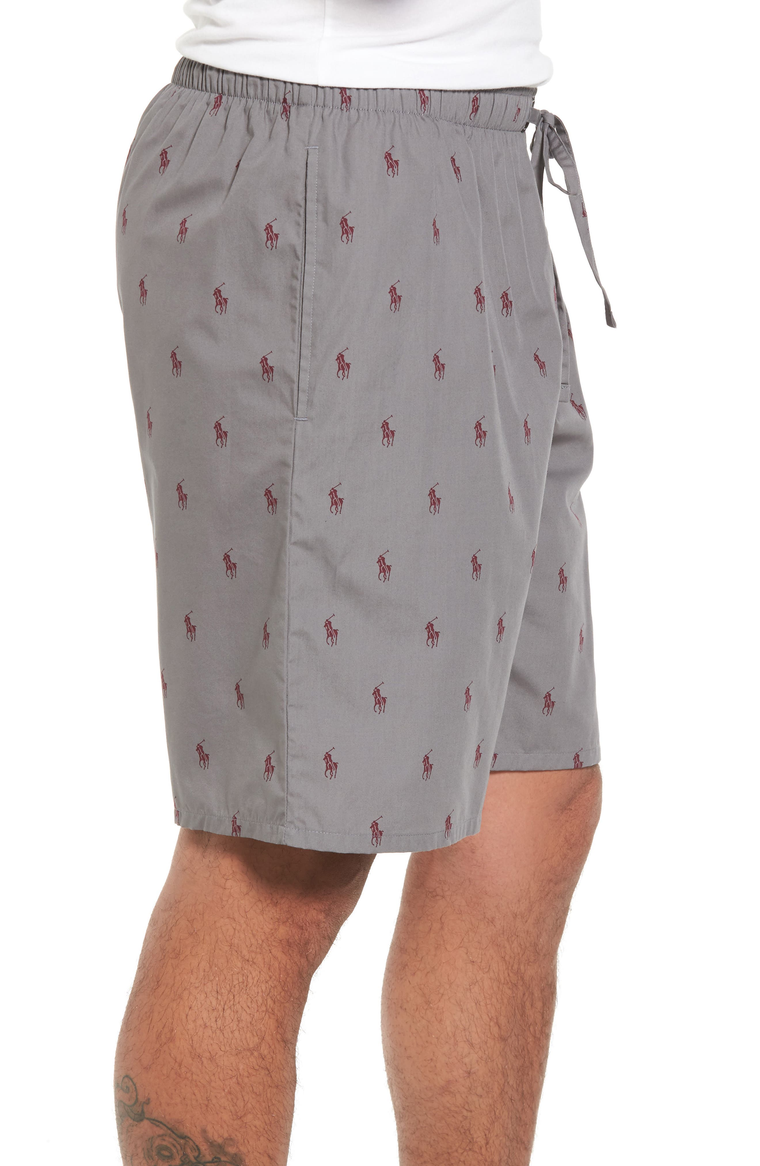 Woven Pajama Shorts,                             Alternate thumbnail 3, color,                             Marine Grey/ Classic Wine