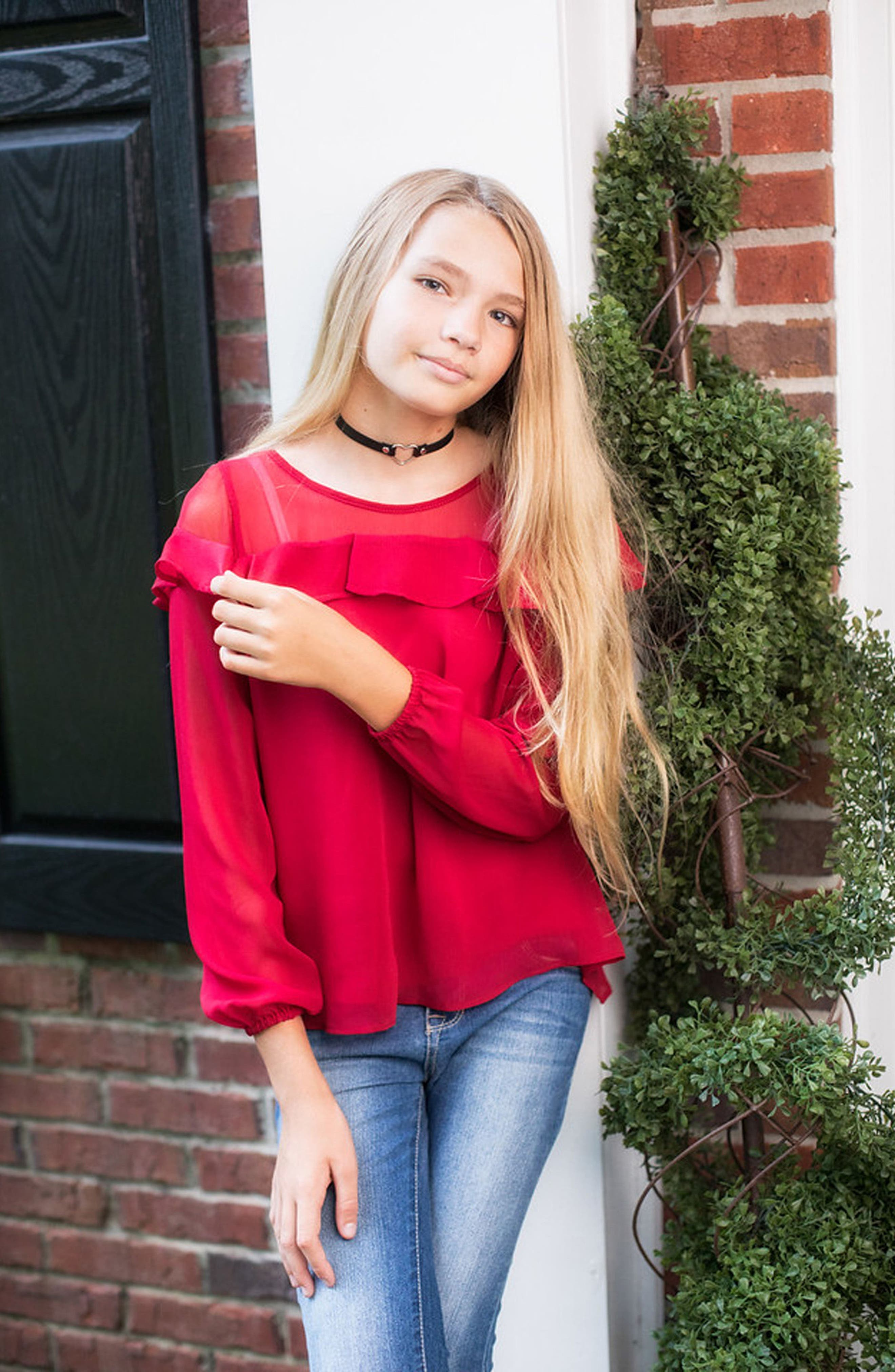 Ruffle Chiffon Top,                             Alternate thumbnail 3, color,                             Red