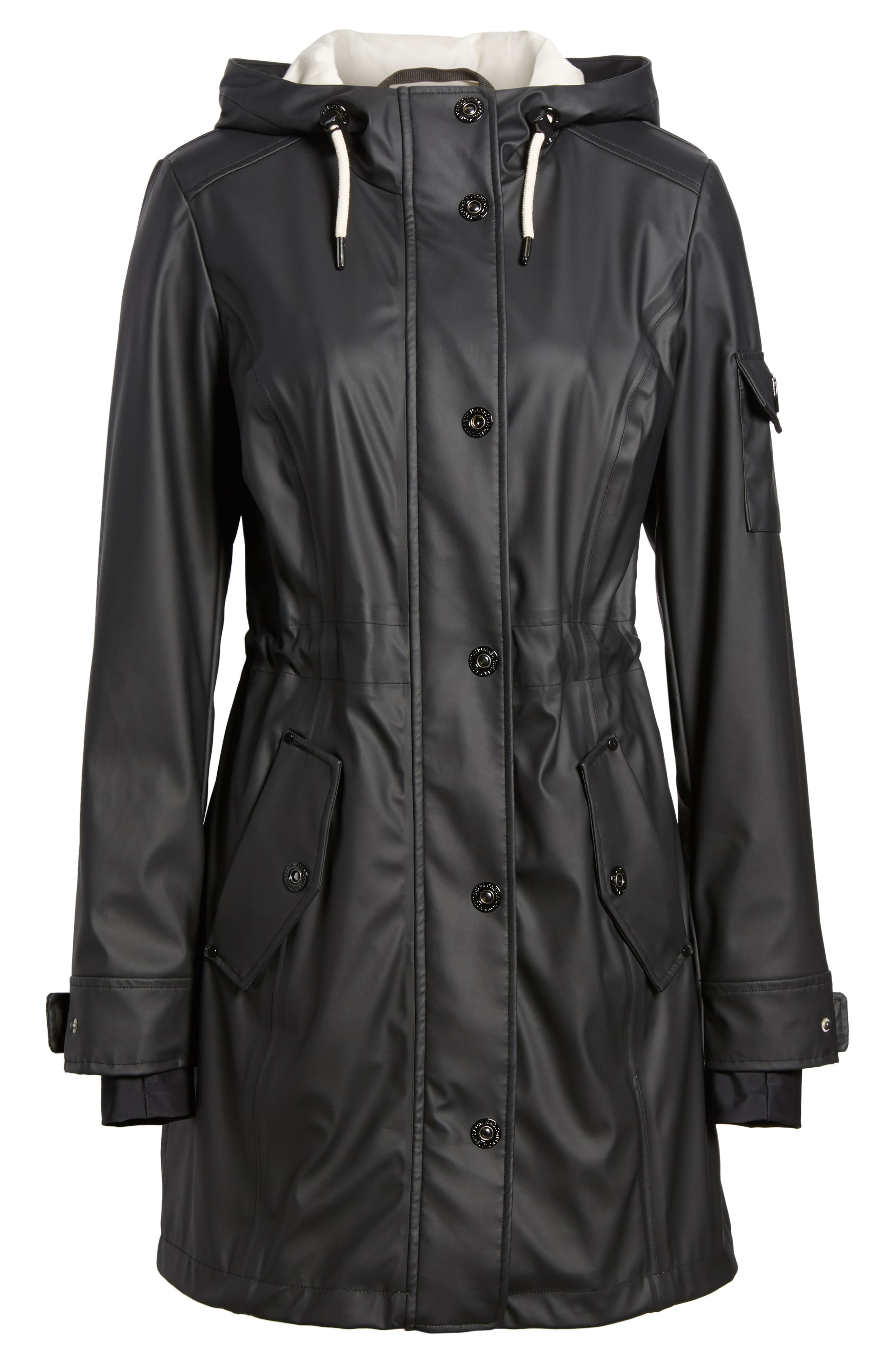 Contrast Cuff Fishtail Anorak,                             Alternate thumbnail 6, color,                             Black