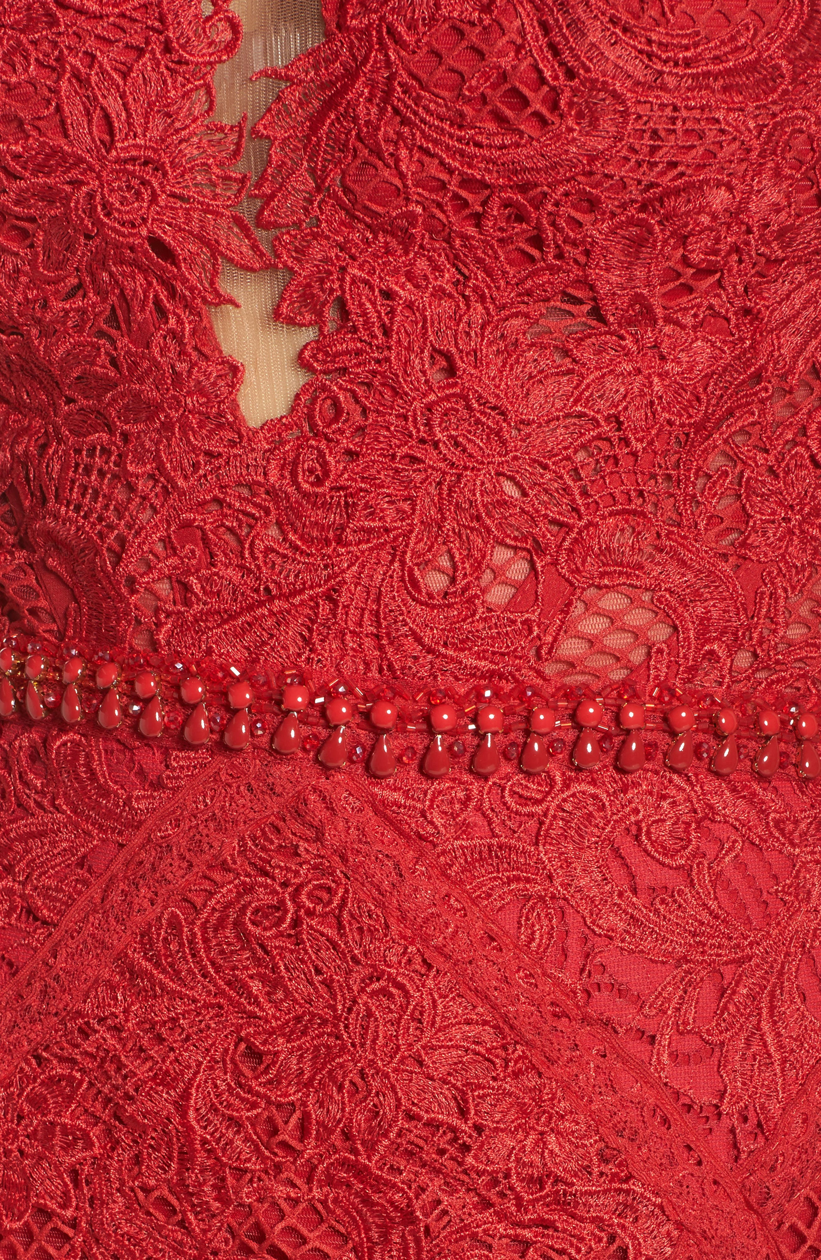 Embellished Lace Mermaid Gown,                             Alternate thumbnail 5, color,                             Red