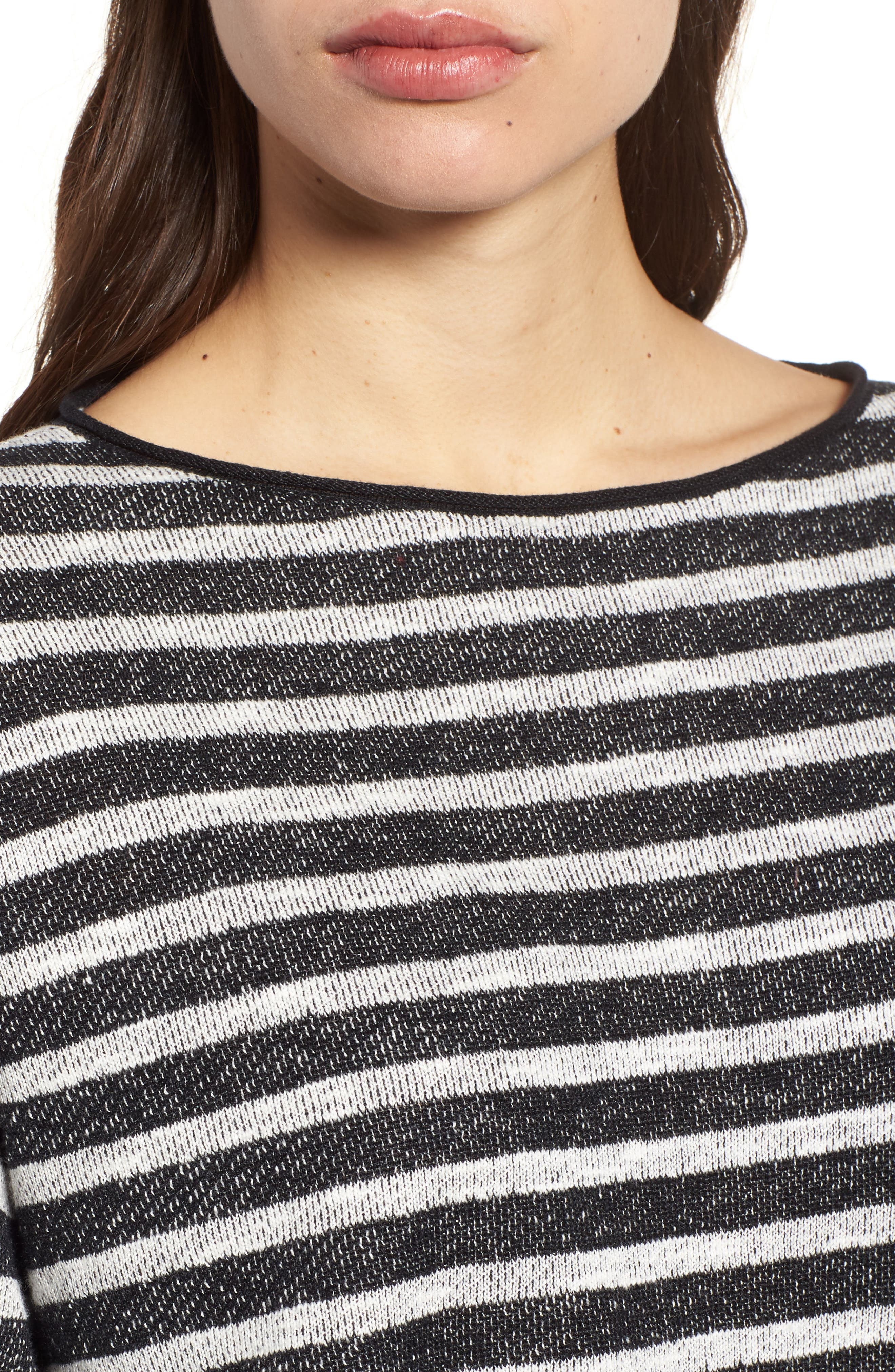 Stripe Organic Linen & Cotton Sweater,                             Alternate thumbnail 5, color,                             Black/ Soft White