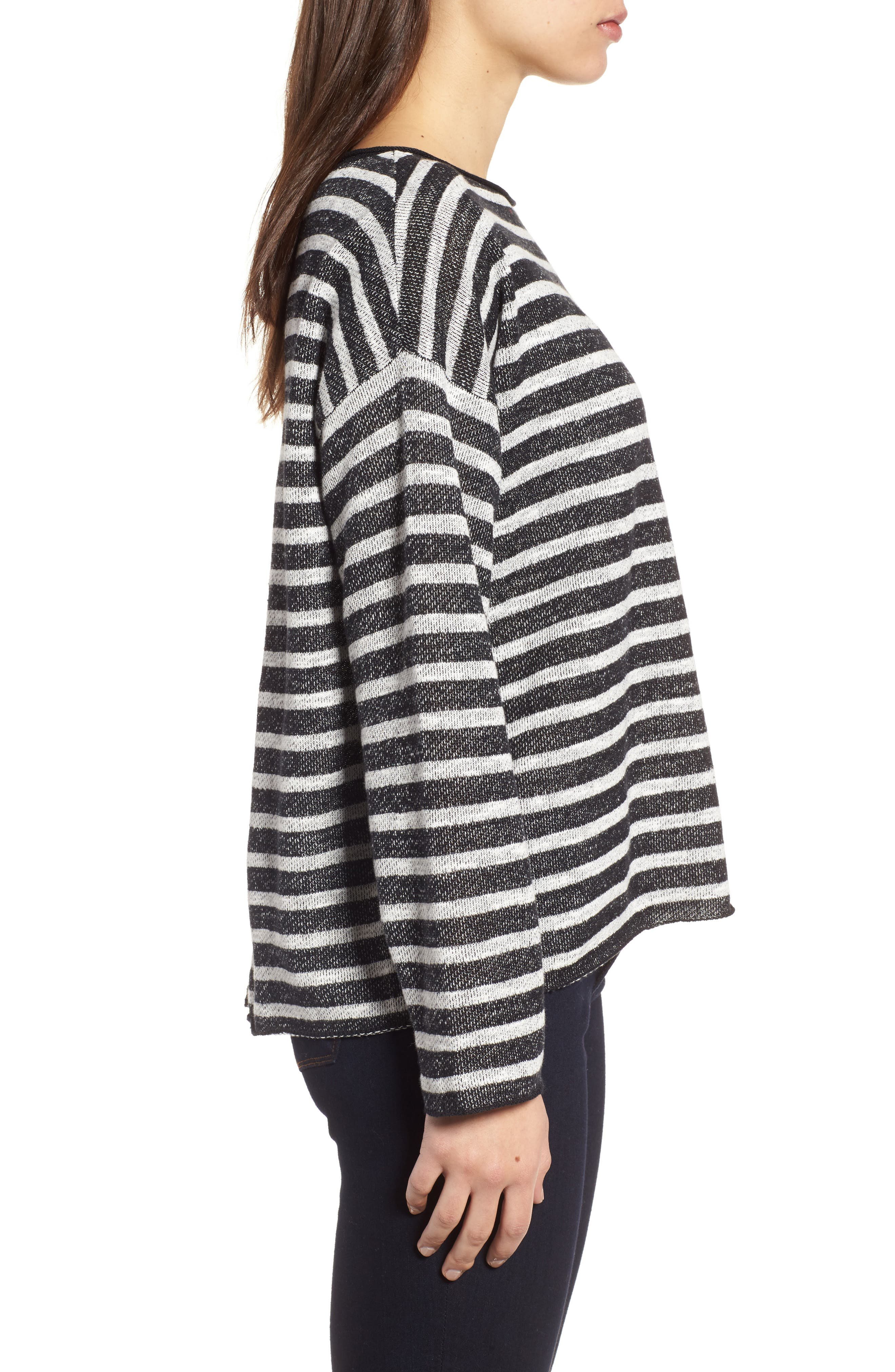 Stripe Organic Linen & Cotton Sweater,                             Alternate thumbnail 4, color,                             Black/ Soft White
