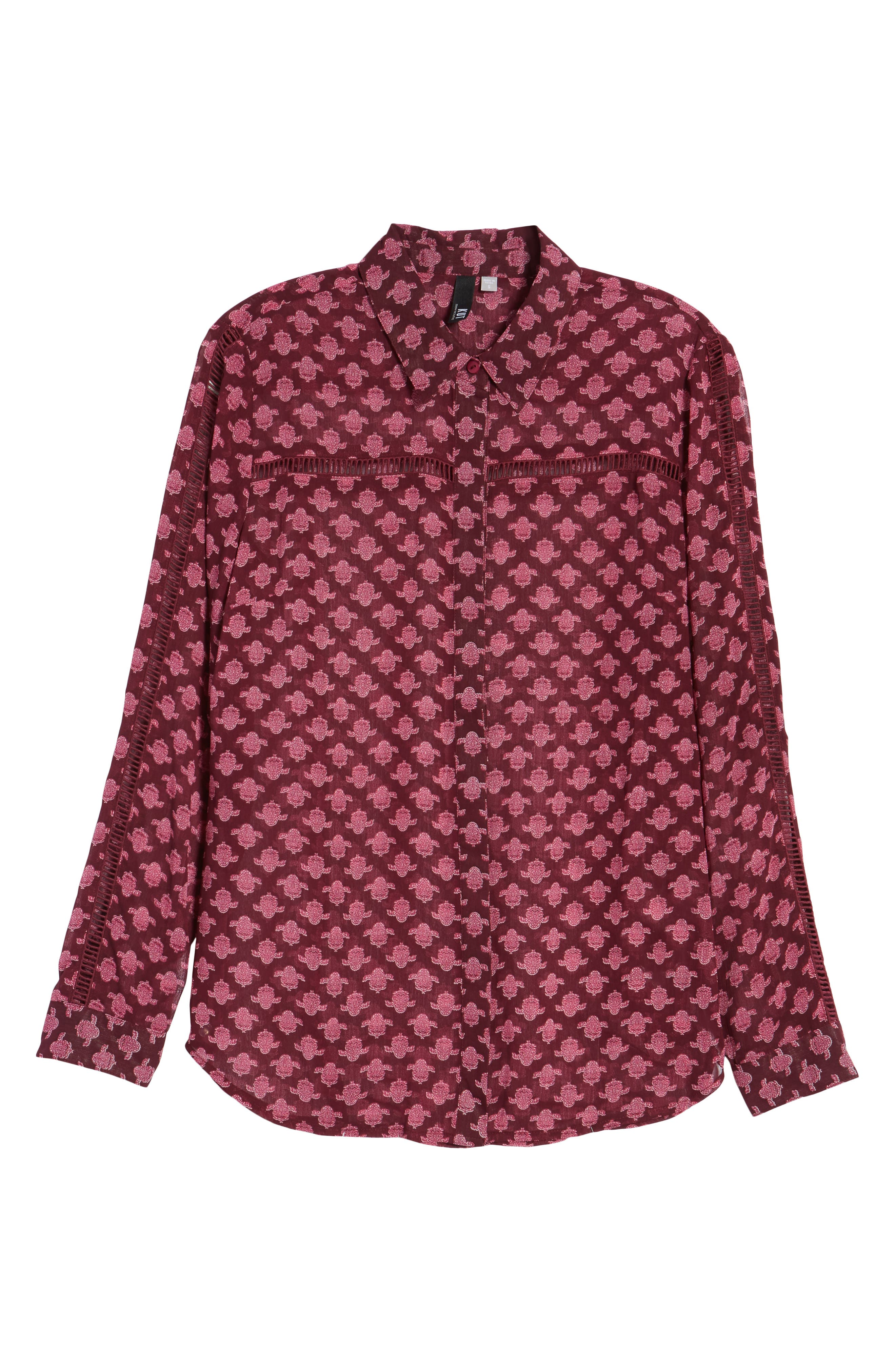 Eve Print Semi-Sheer Blouse,                             Alternate thumbnail 6, color,                             Dark Berry