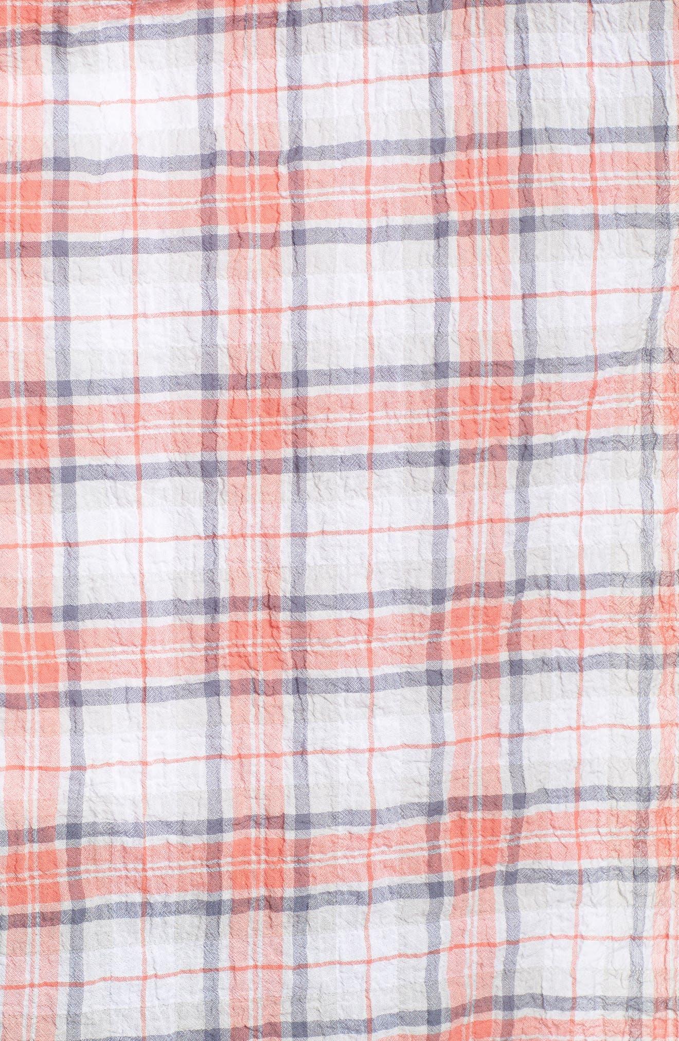 Seersucker Shirt,                             Alternate thumbnail 5, color,                             White- Coral Plaid