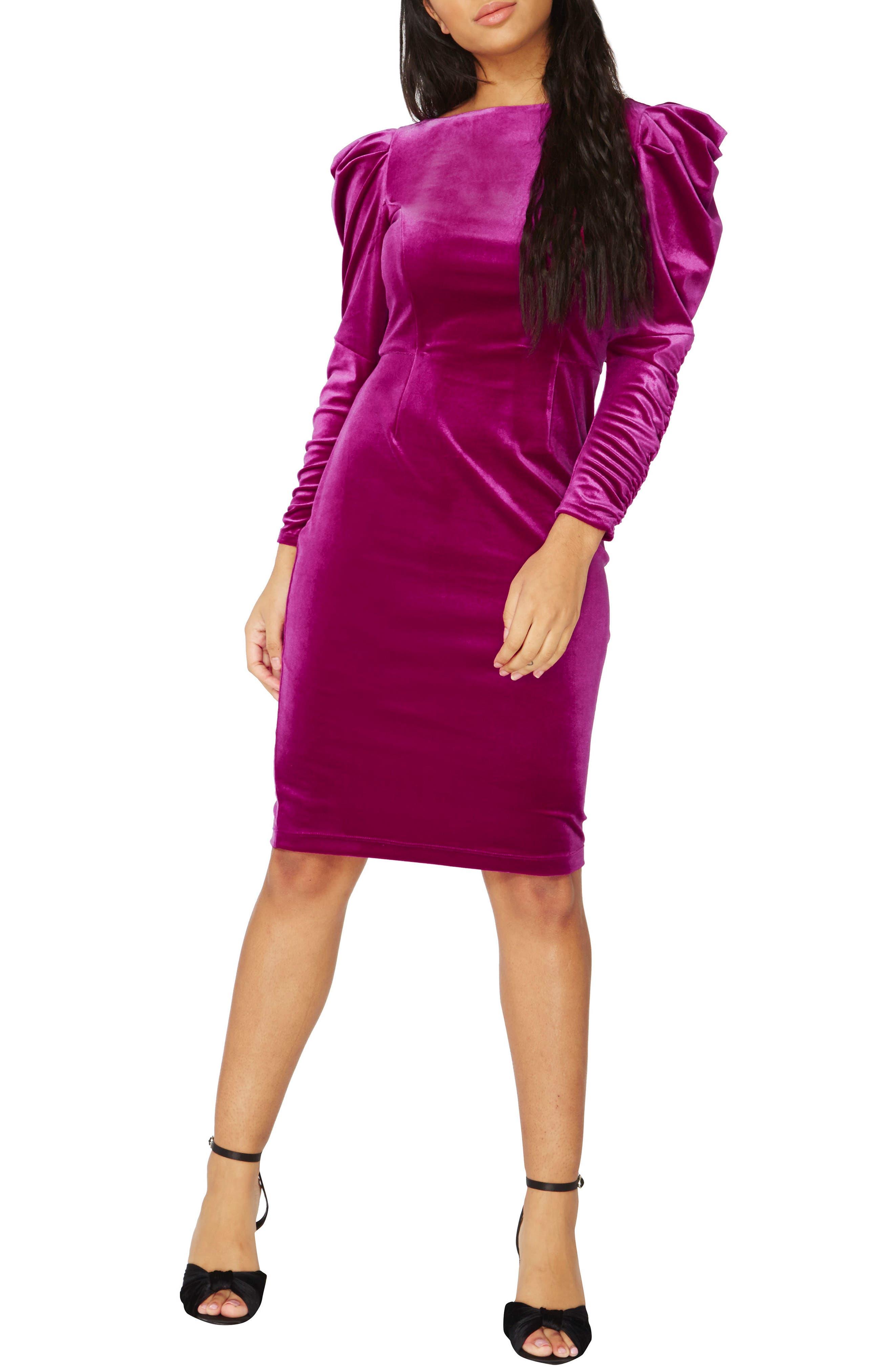 Velvet Body-Con Dress,                         Main,                         color, Purple