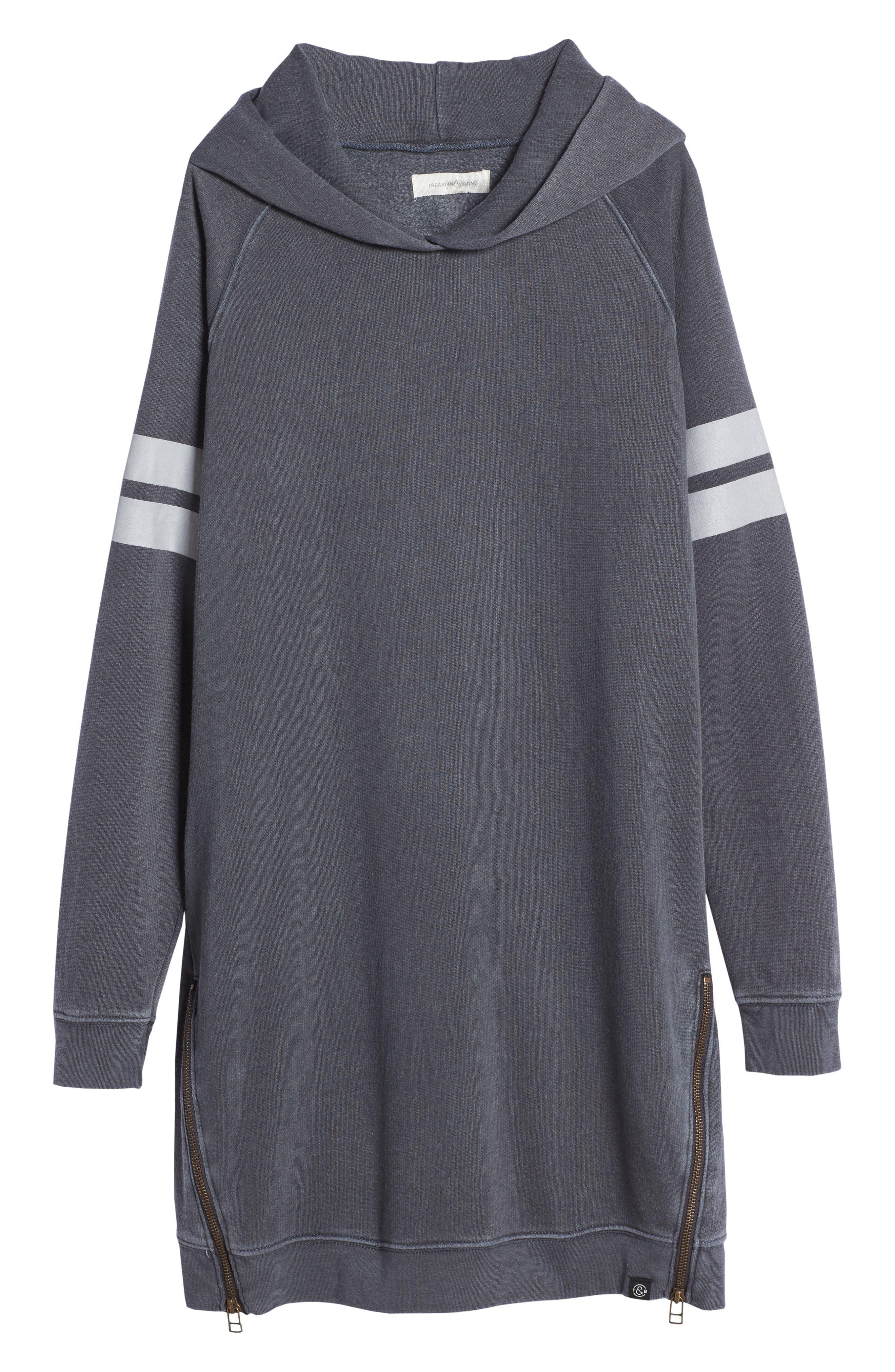 Main Image - Treasure & Bond Hooded Fleece Sweatshirt Dress (Big Girls)