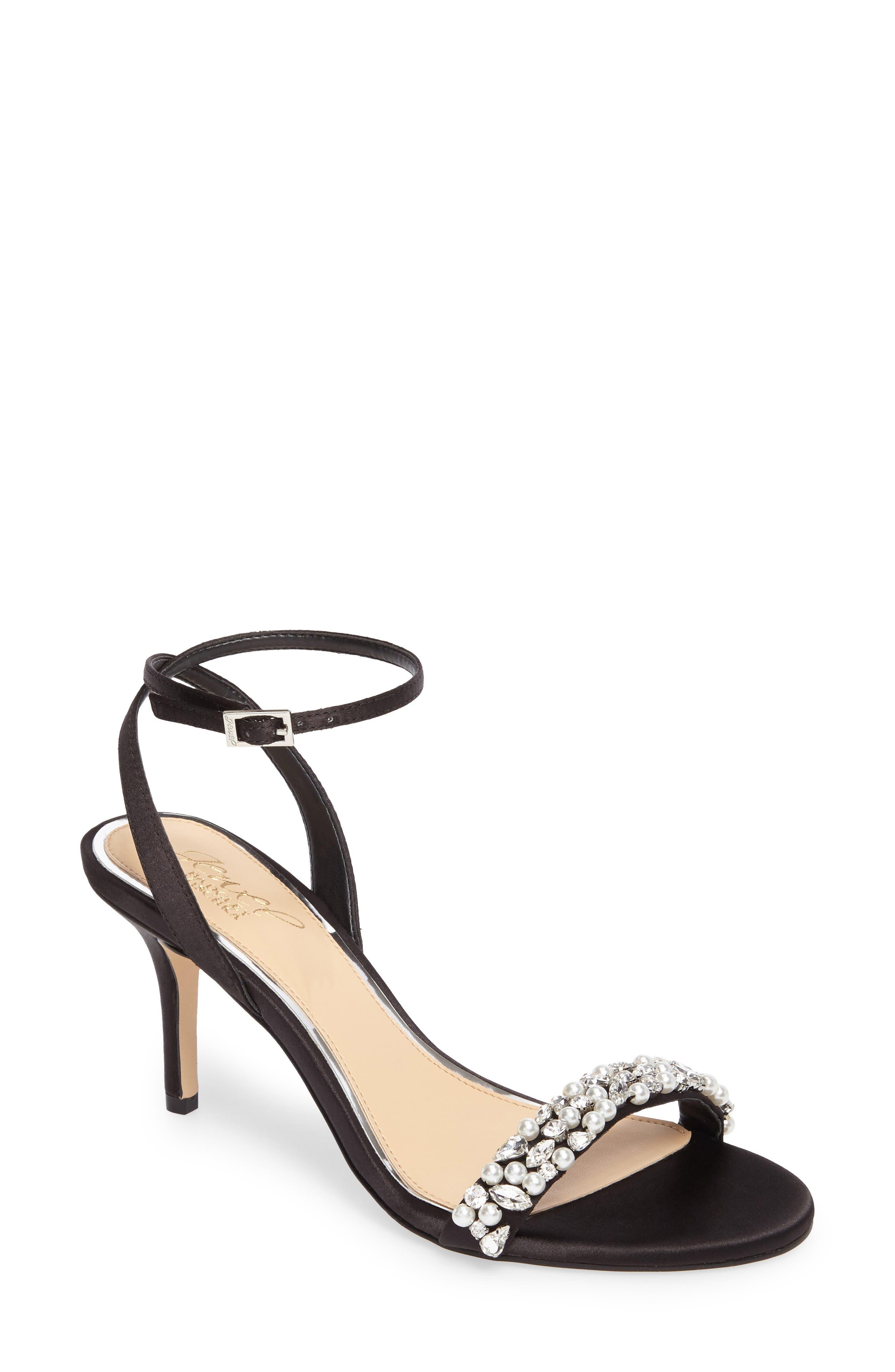 Jewel by Badgley Mischka Theodora Ankle Strap Sandal,                         Main,                         color, Black Satin
