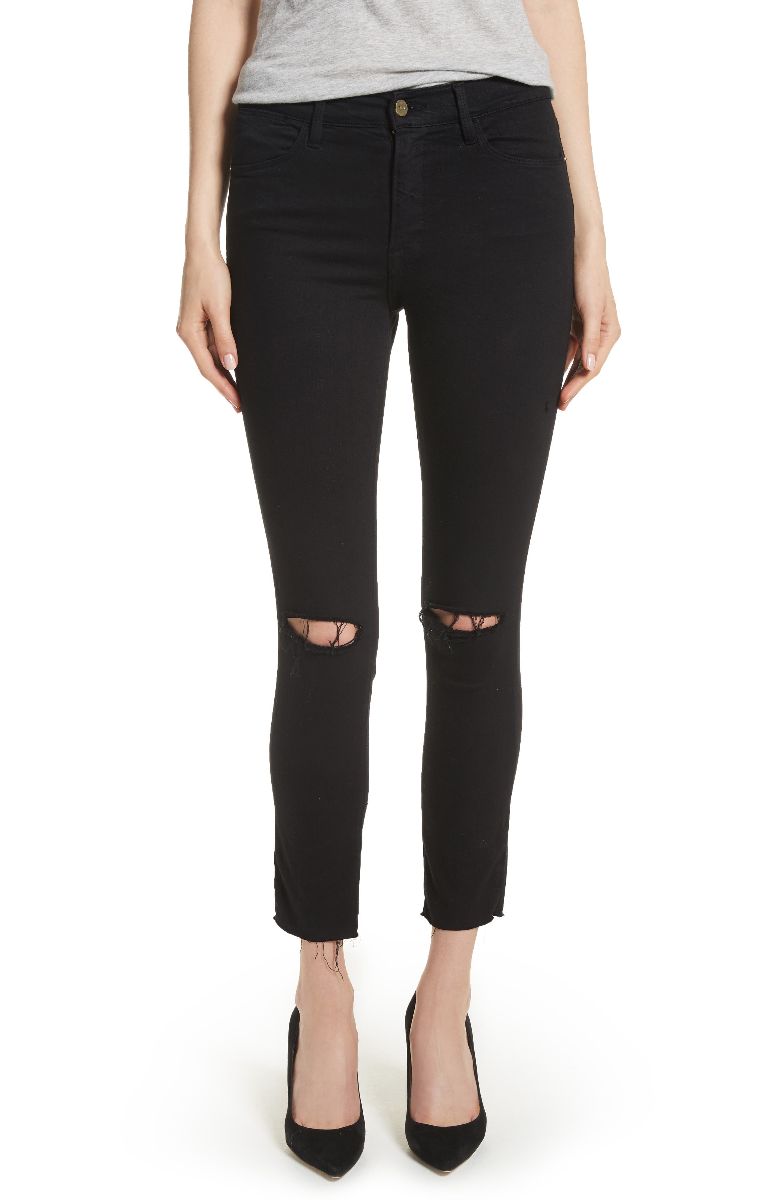 FRAME Le High Ripped Crop Skinny Jeans (Noir Slits)