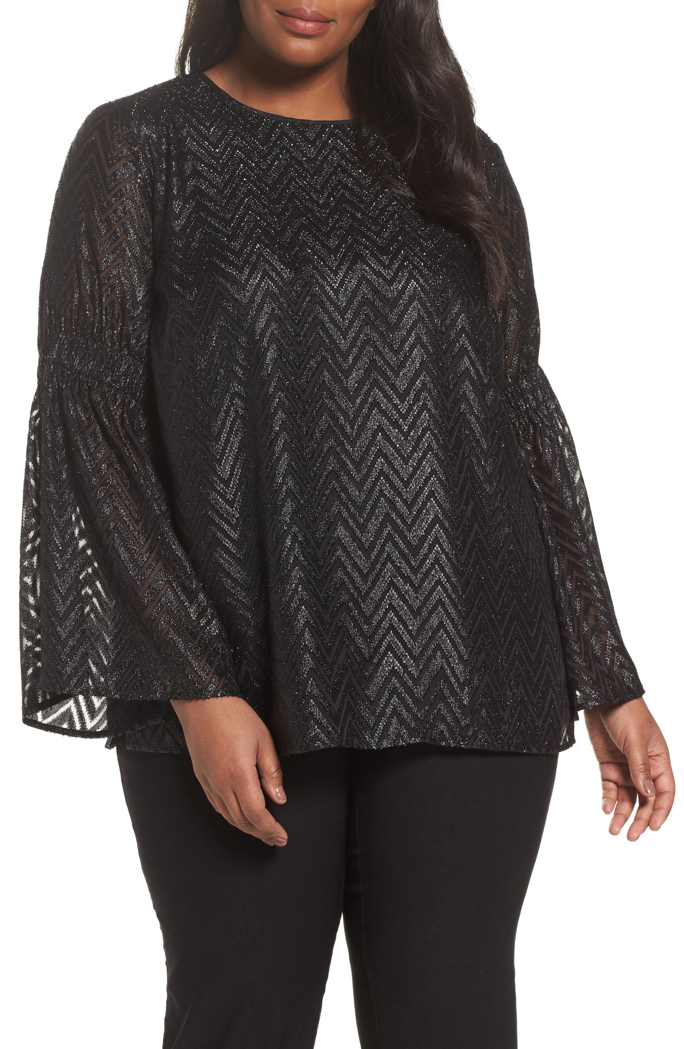 Bell Sleeve Jacquard Top,                         Main,                         color, Black