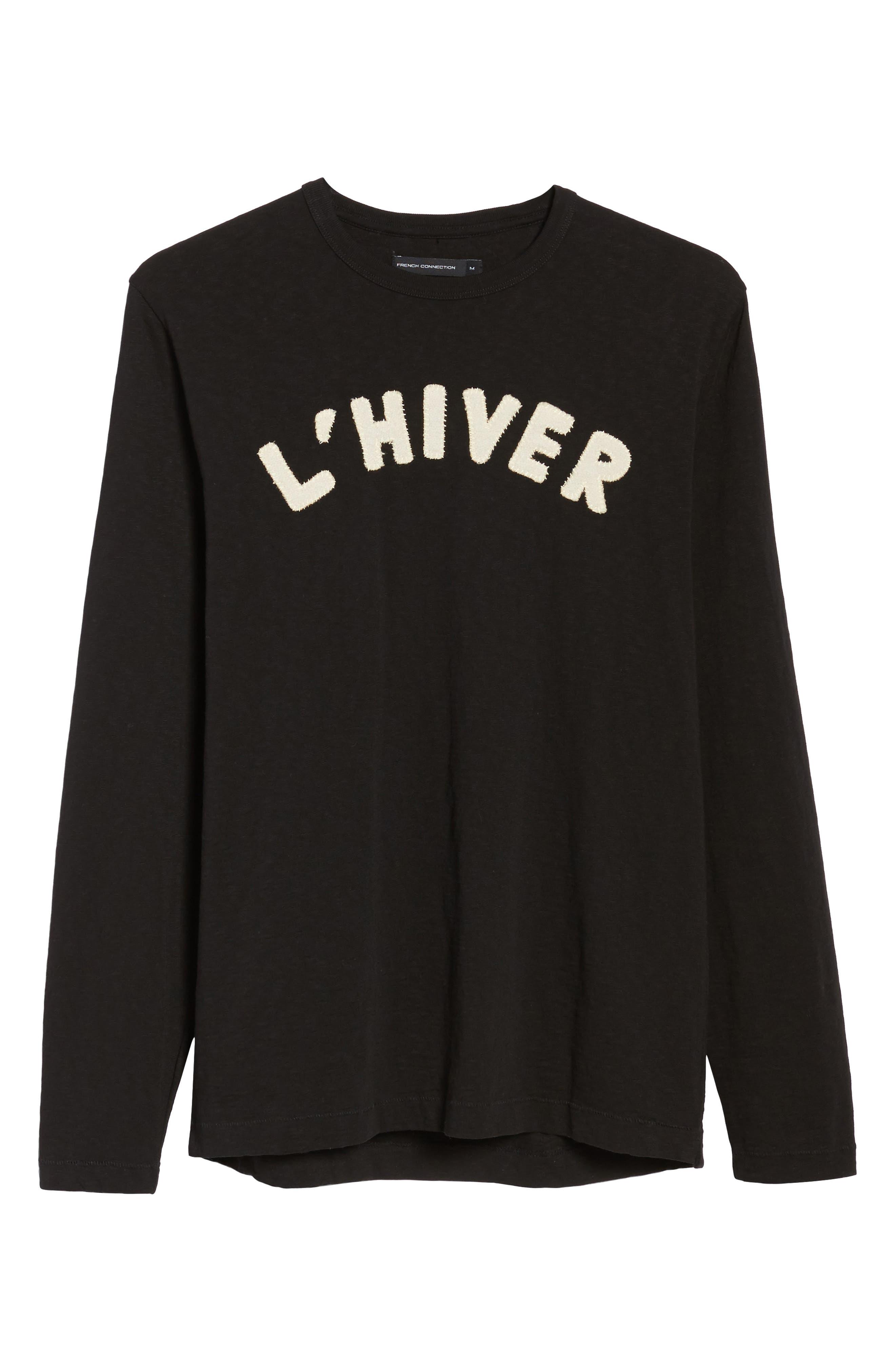 L'Hiver Regular Fit Long Sleeve T-shirt,                             Alternate thumbnail 6, color,                             Black/ Clay