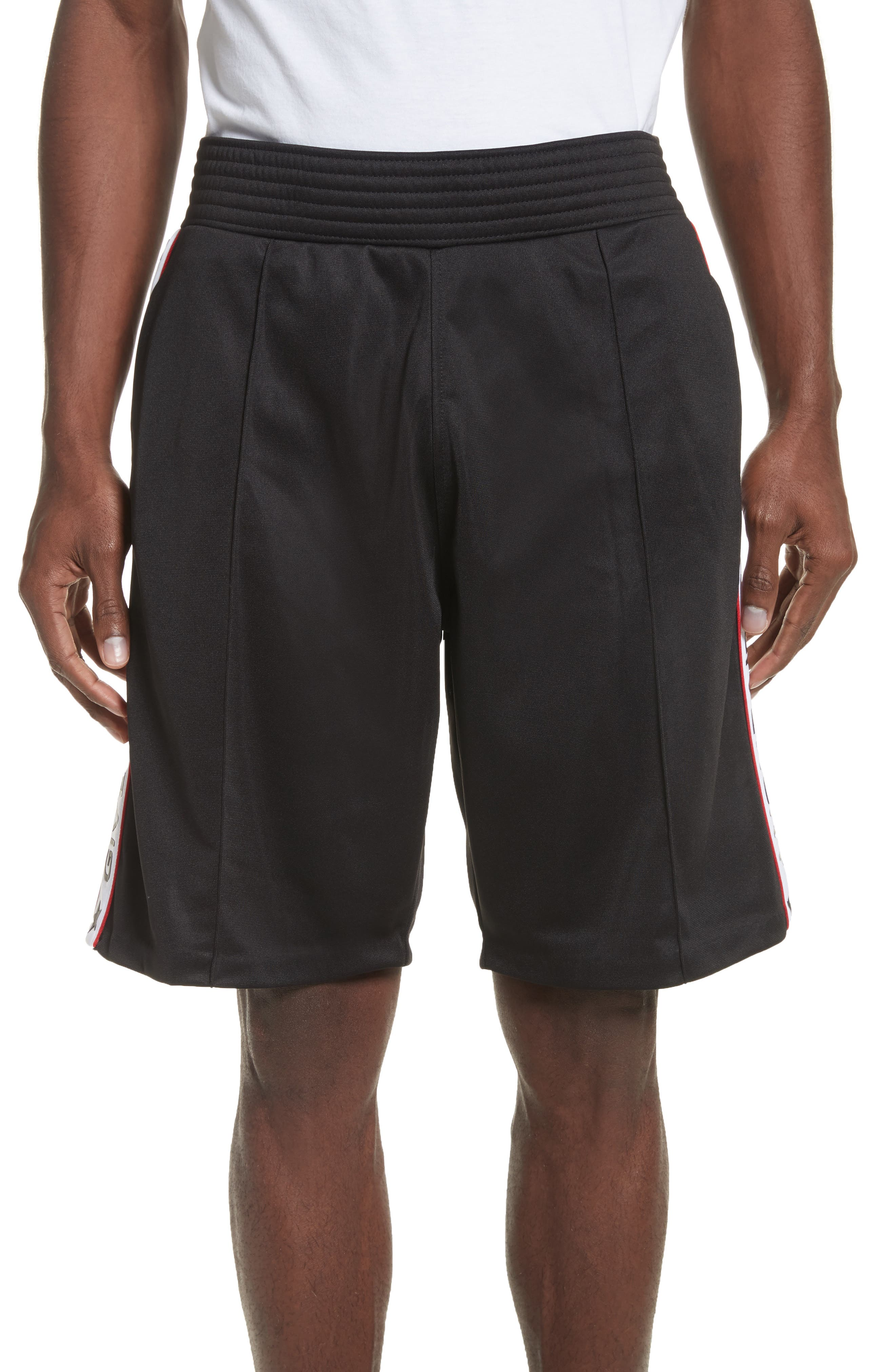 Side Stripe Logo Shorts,                             Main thumbnail 1, color,                             Black