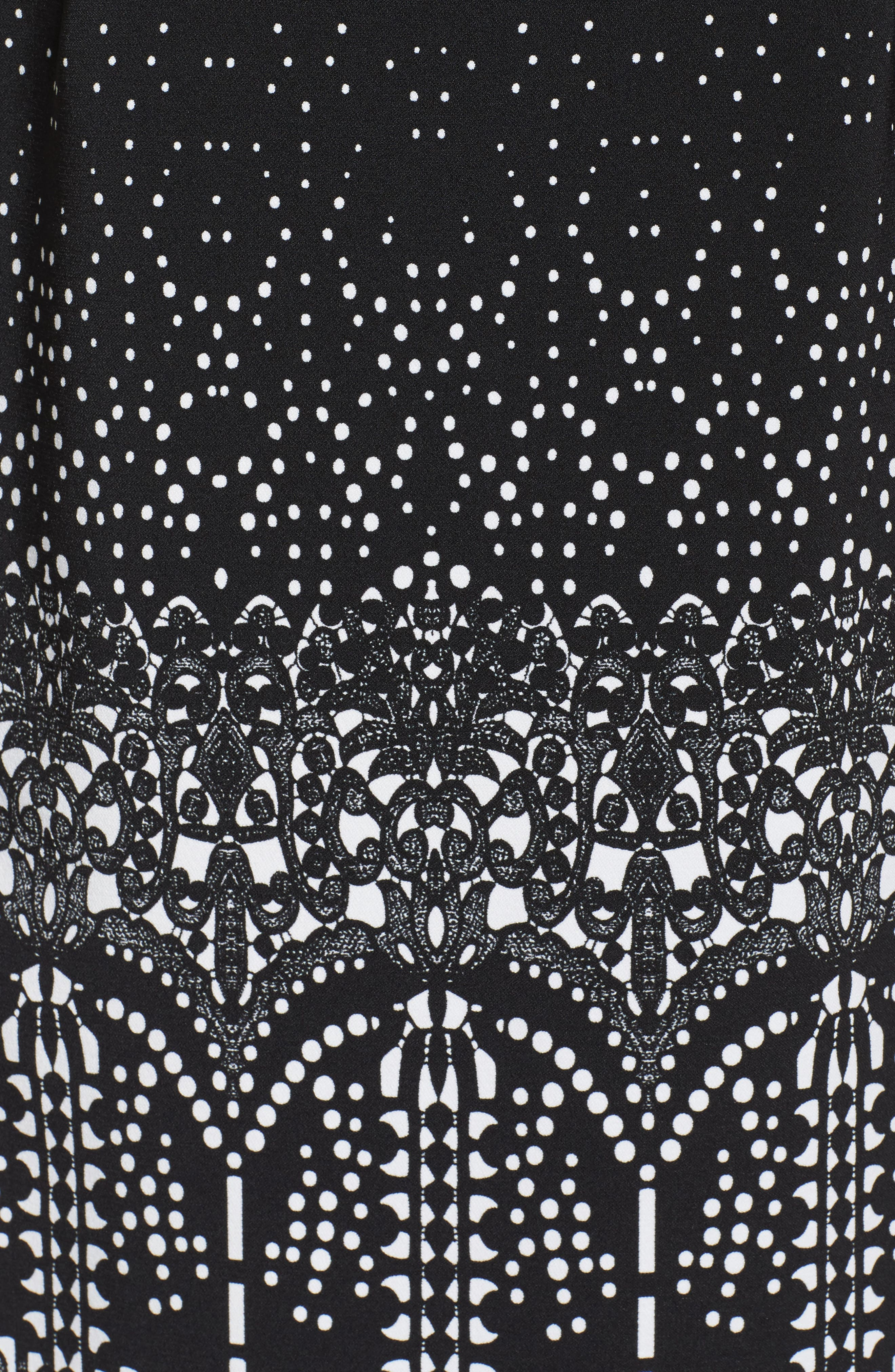 Lace Majesty Print A-Line Dress,                             Alternate thumbnail 5, color,                             Black Multi