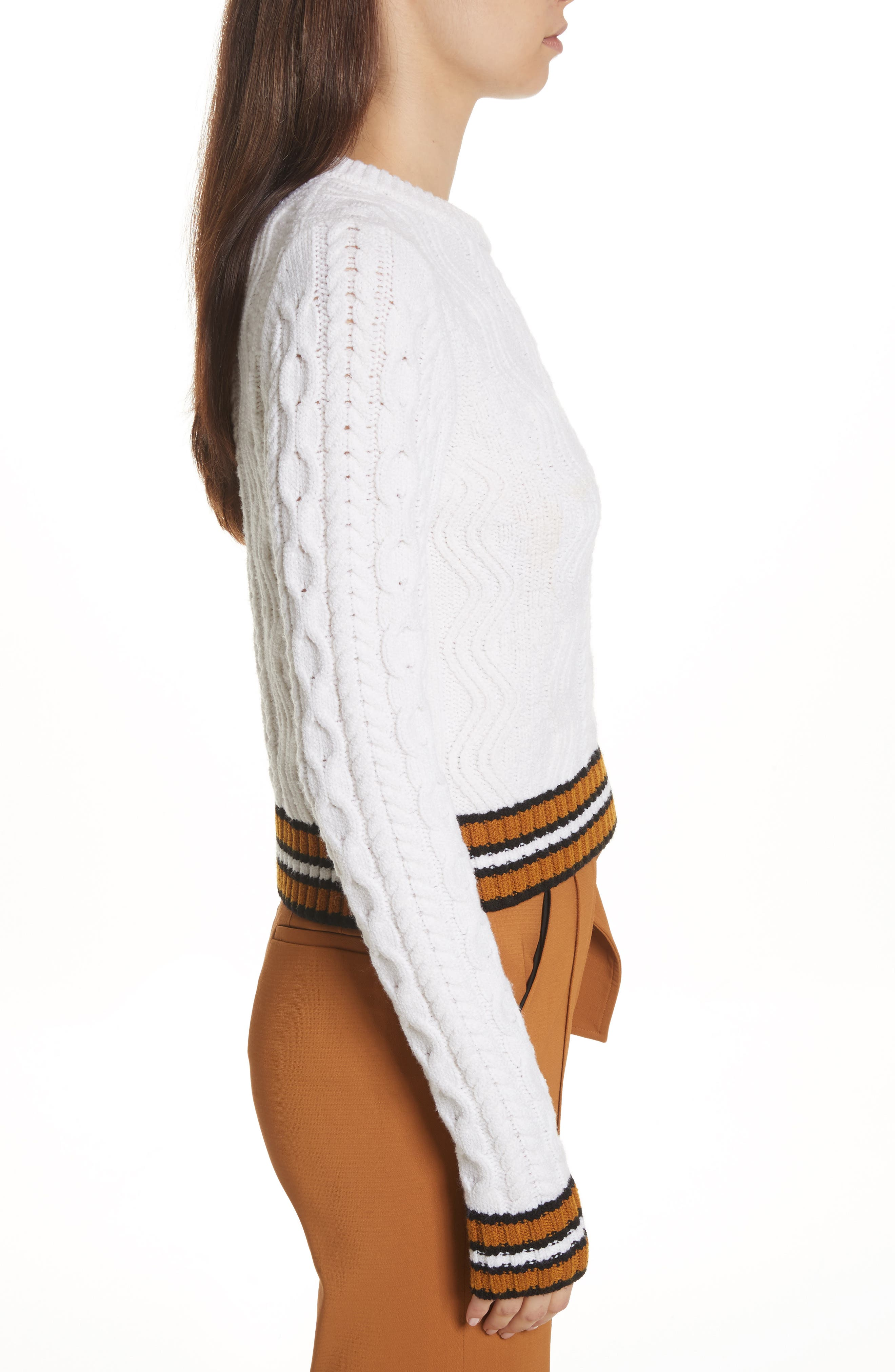 Alpha Cable Knit Sweater,                             Alternate thumbnail 5, color,                             White