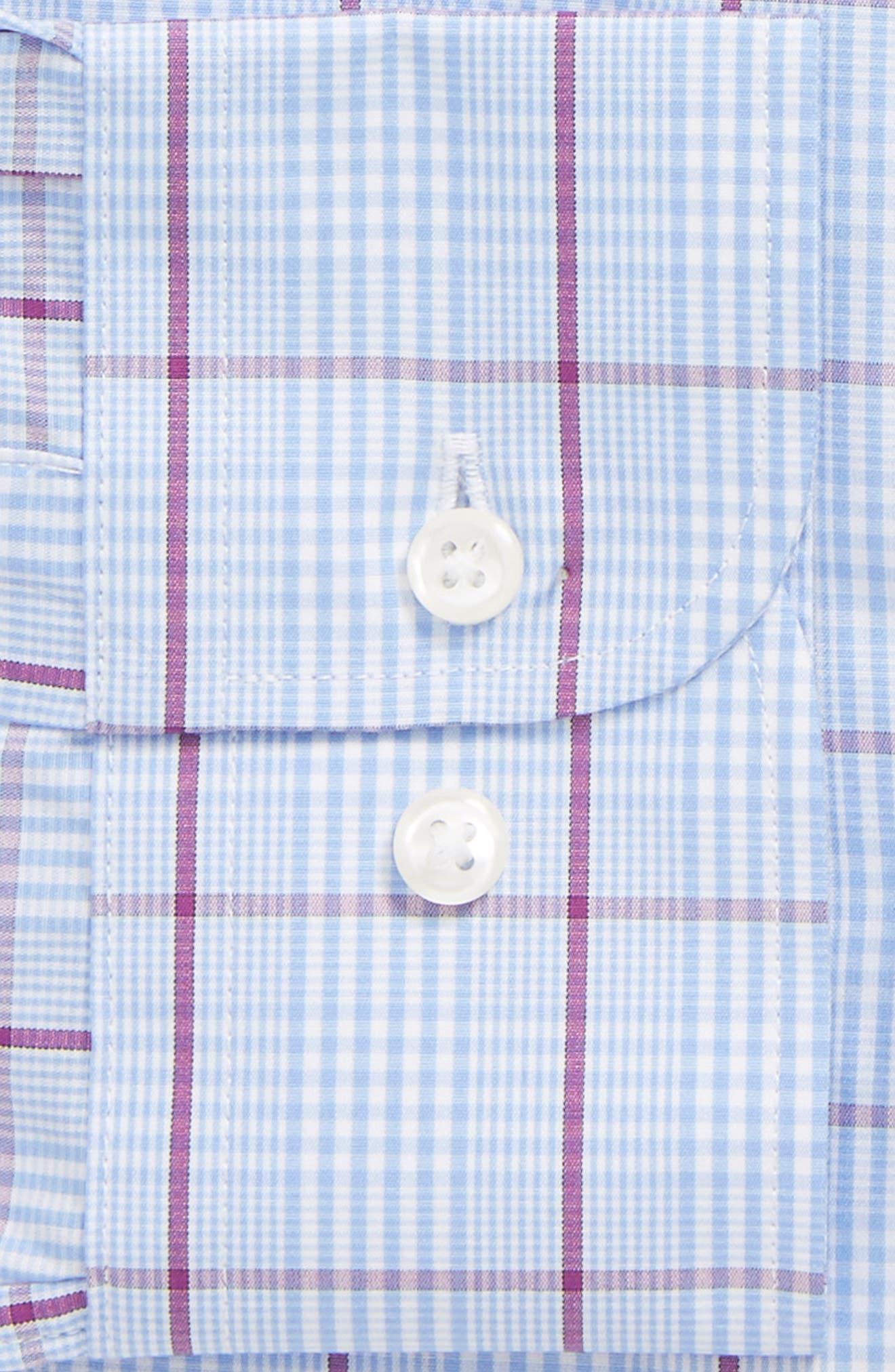 Traditional Fit Plaid Dress Shirt,                             Alternate thumbnail 5, color,                             Purple Sparkle
