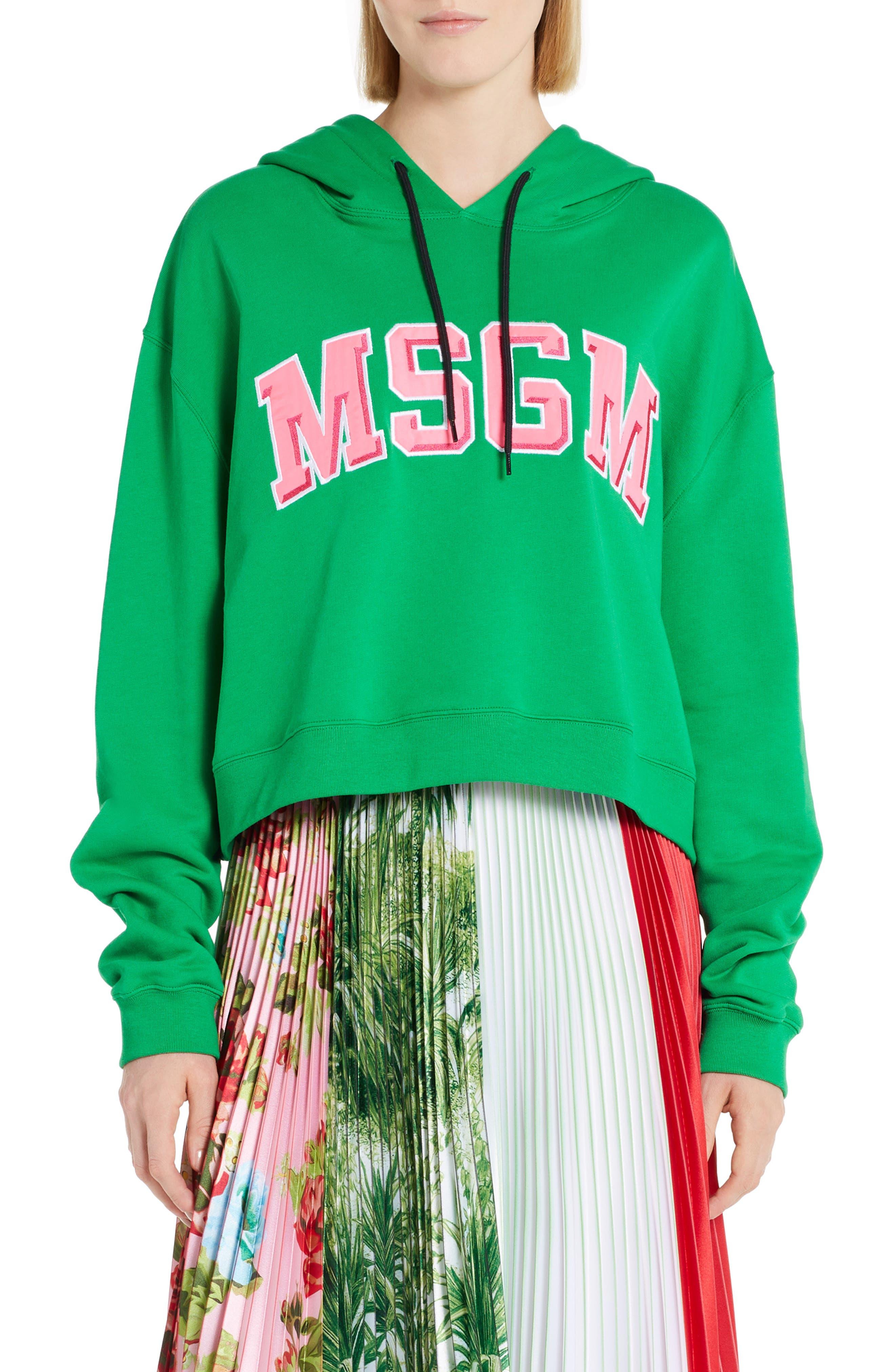 MSGM Logo Crop Cotton Hoodie