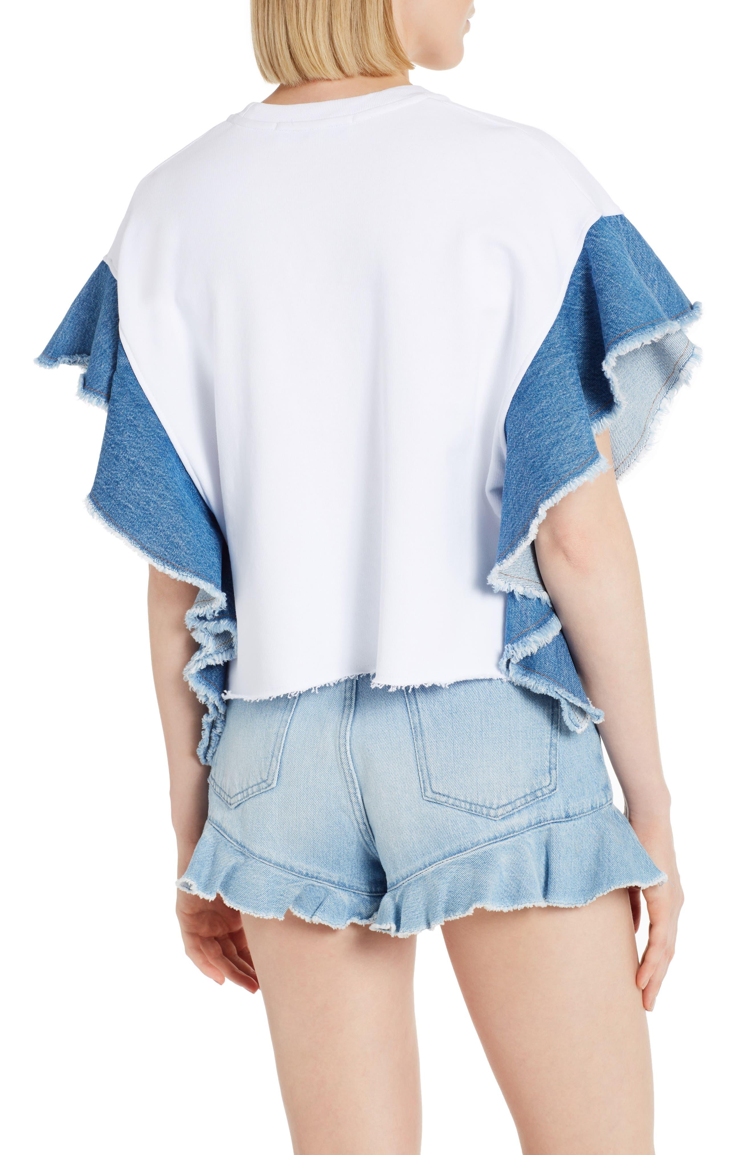 Alternate Image 2  - MSGM Denim Flutter Sleeve Cotton Top