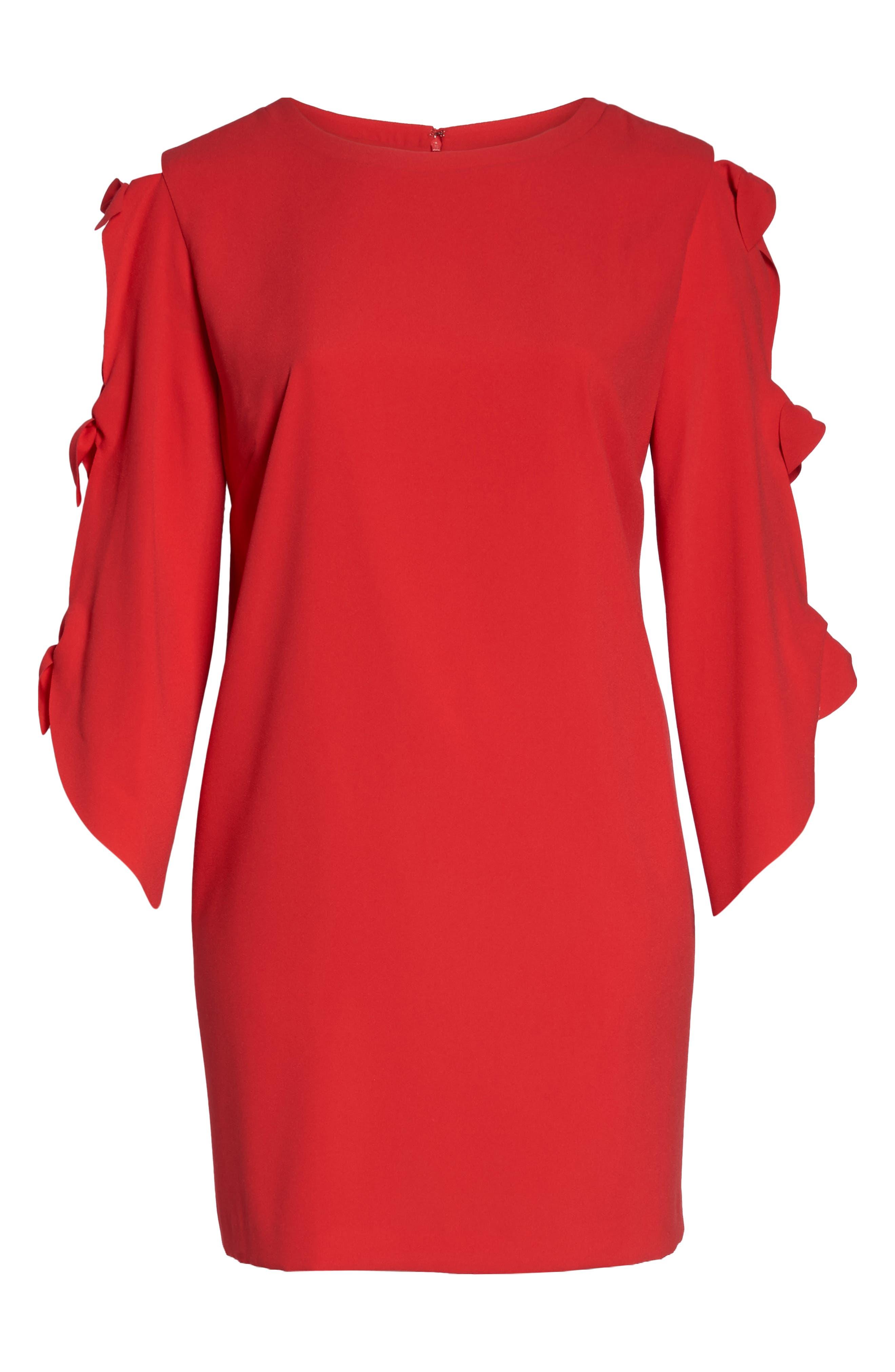 Split Tie Sleeve Shift Dress,                             Alternate thumbnail 6, color,                             Fiesta Pink