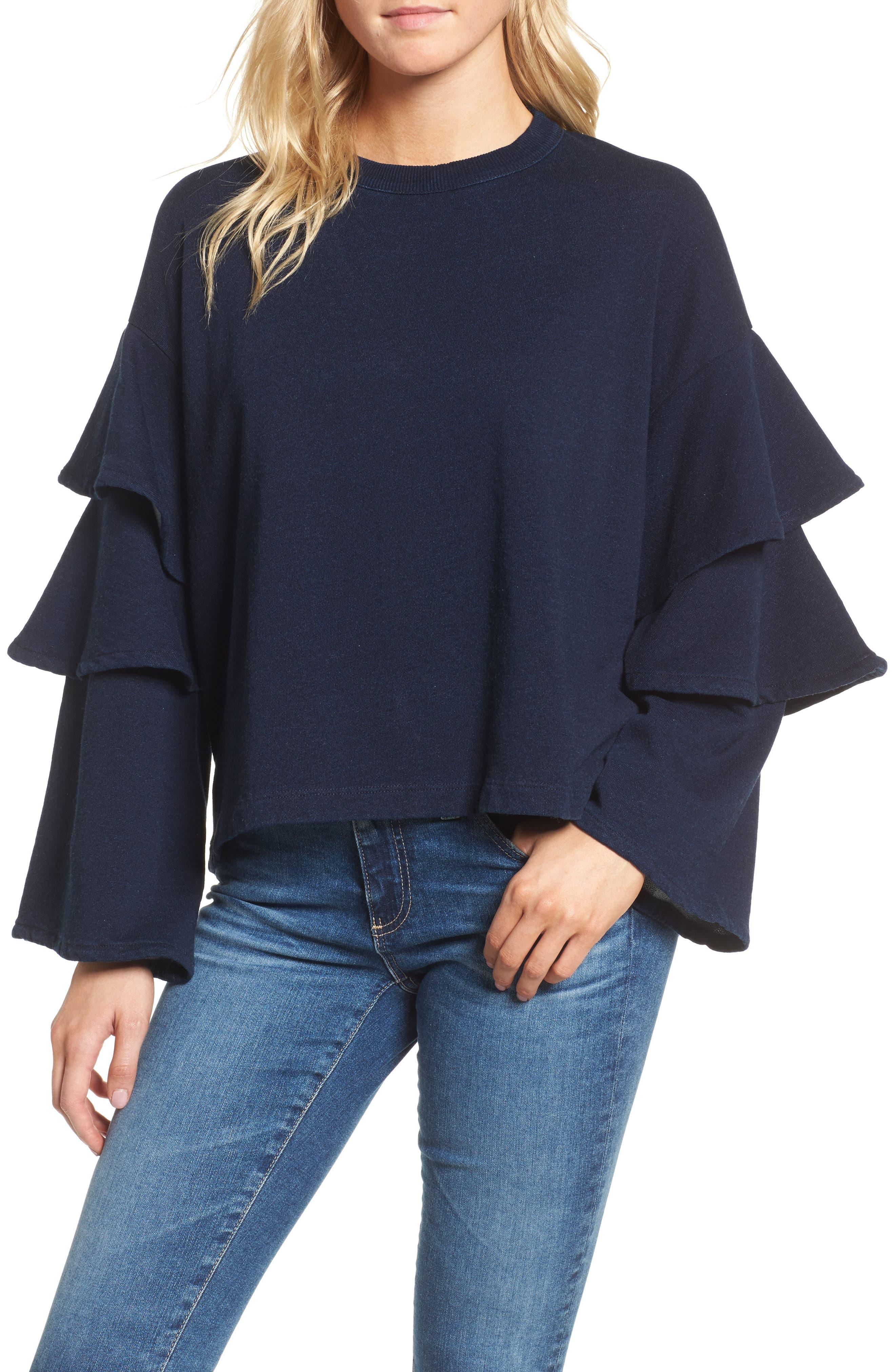 Pearl Ruffle Sweatshirt,                         Main,                         color, Dark Indigo