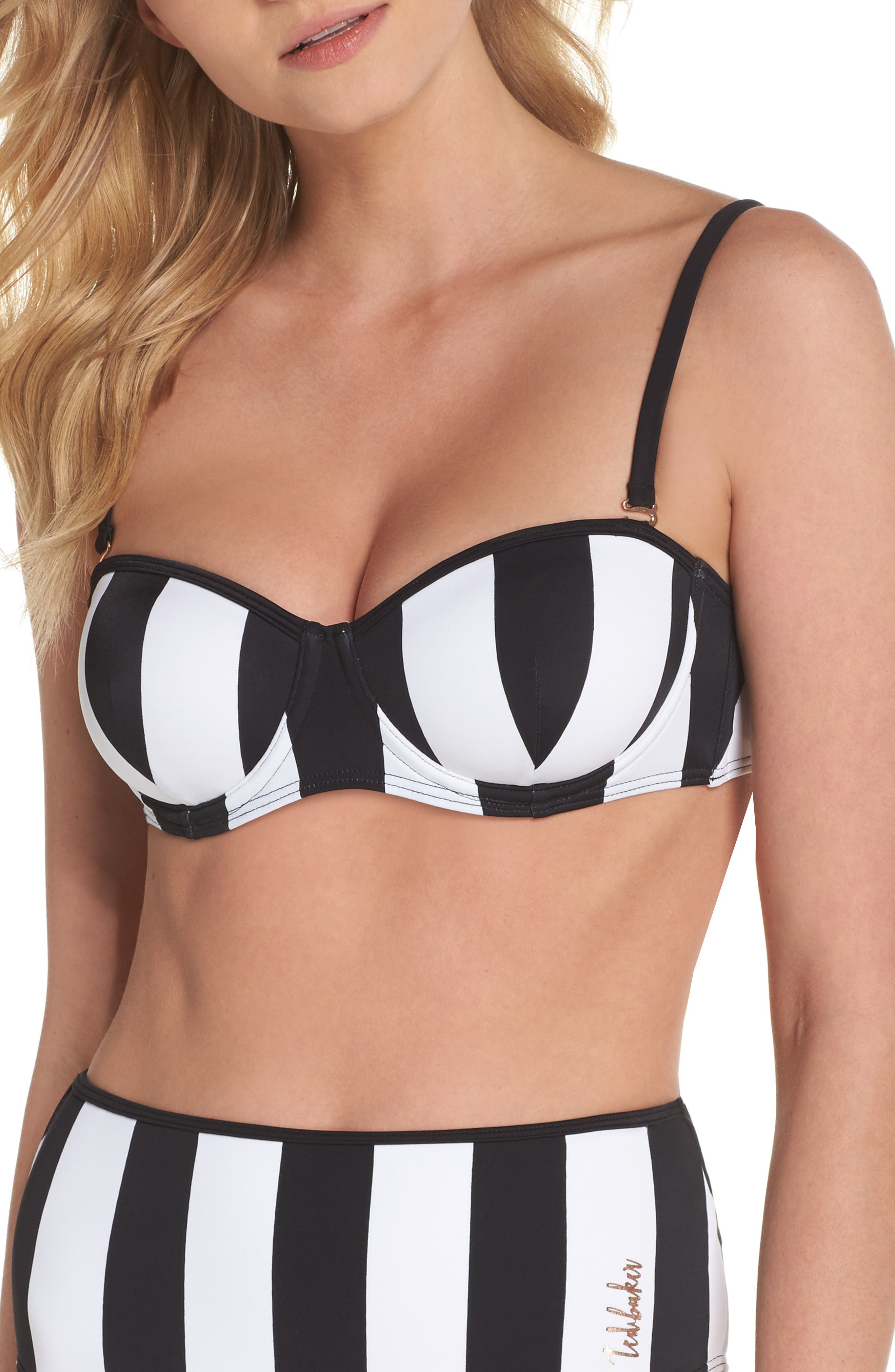 Monochrome Stripe Underwire Bikini Top,                             Alternate thumbnail 2, color,                             Black