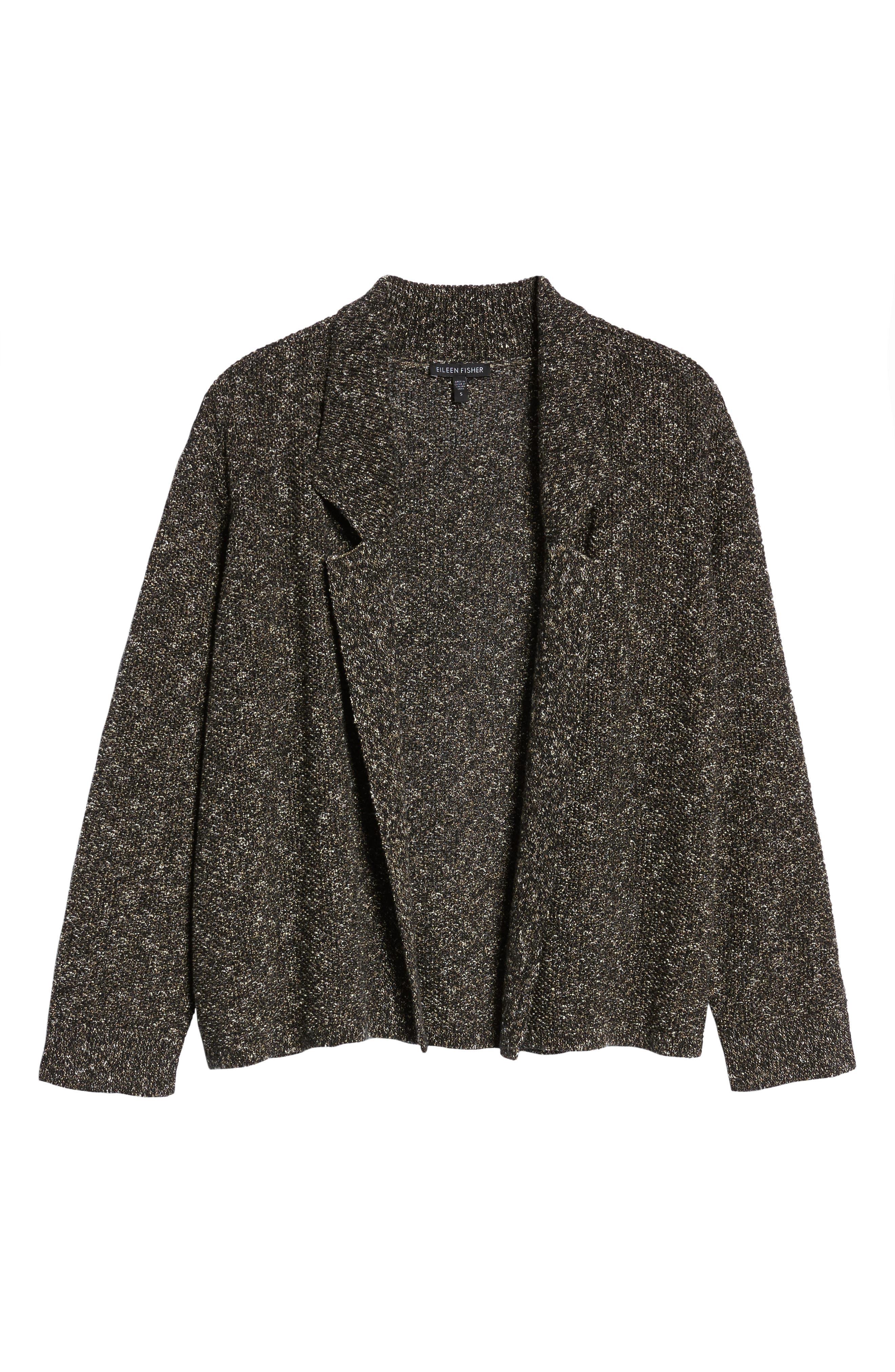 Tweed Sweater Jacket,                             Alternate thumbnail 6, color,                             Black