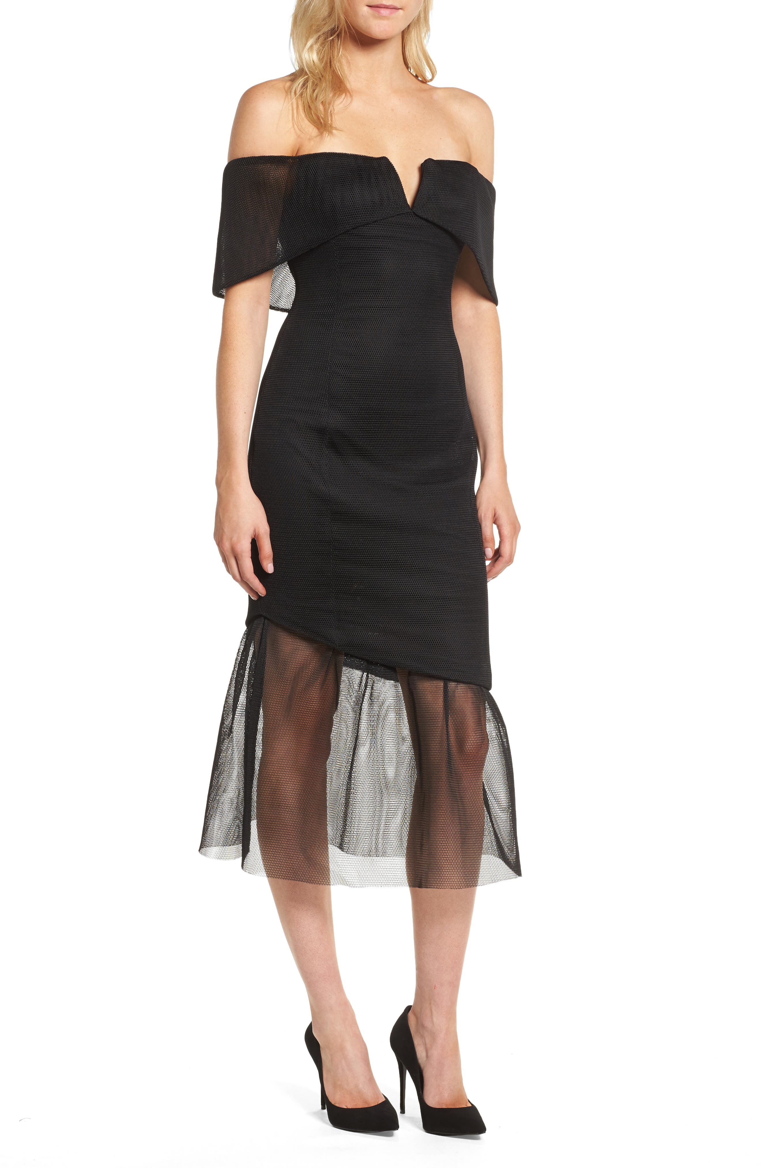 Fate Off the Shoulder Dress,                             Main thumbnail 1, color,                             Black