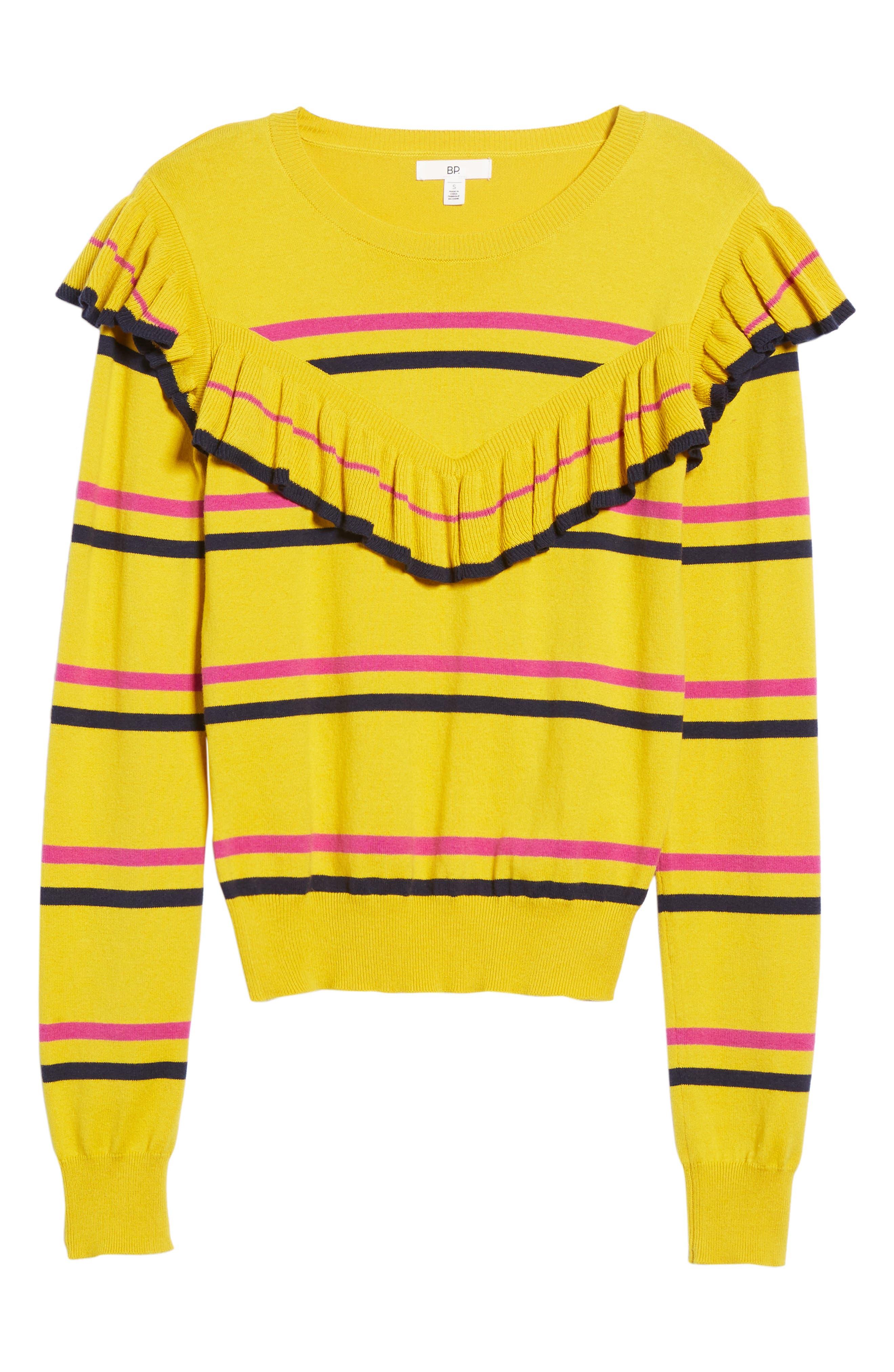 Ruffle Yoke Sweater,                             Alternate thumbnail 7, color,                             Yellow Sulfur Margret Stripe