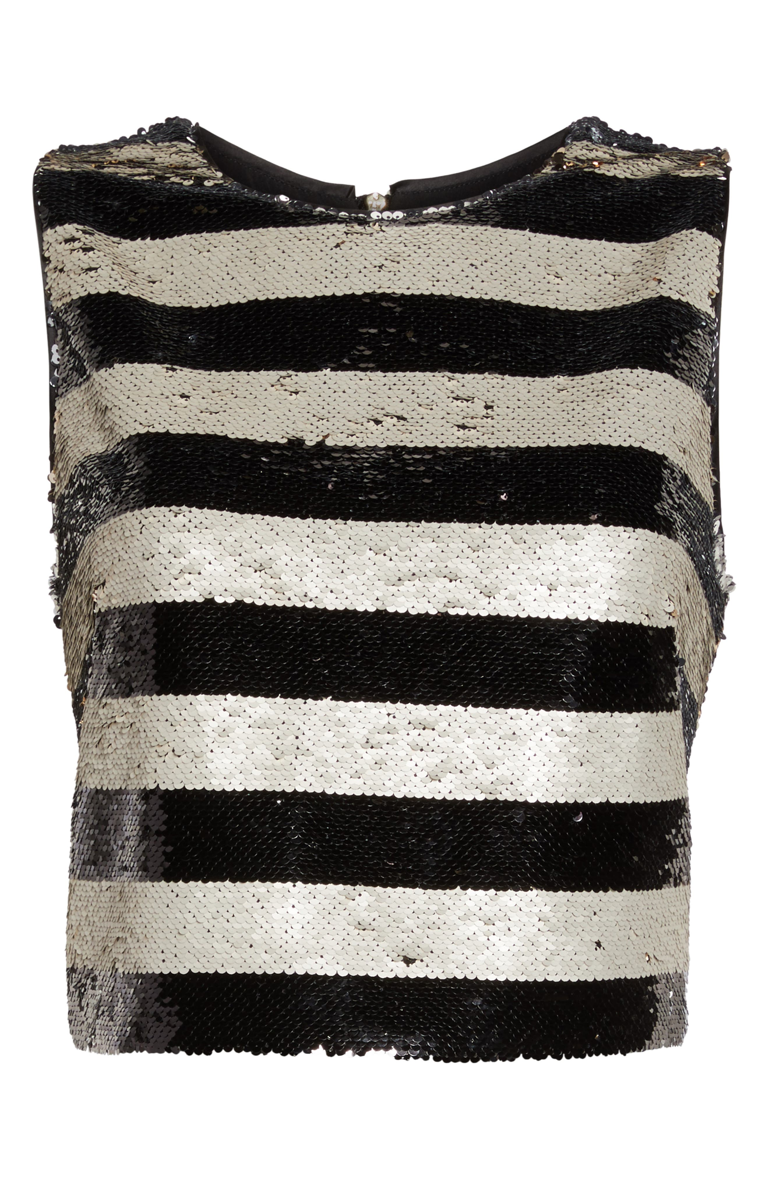 Sequin Stripe Top,                             Alternate thumbnail 5, color,                             Black Ivory