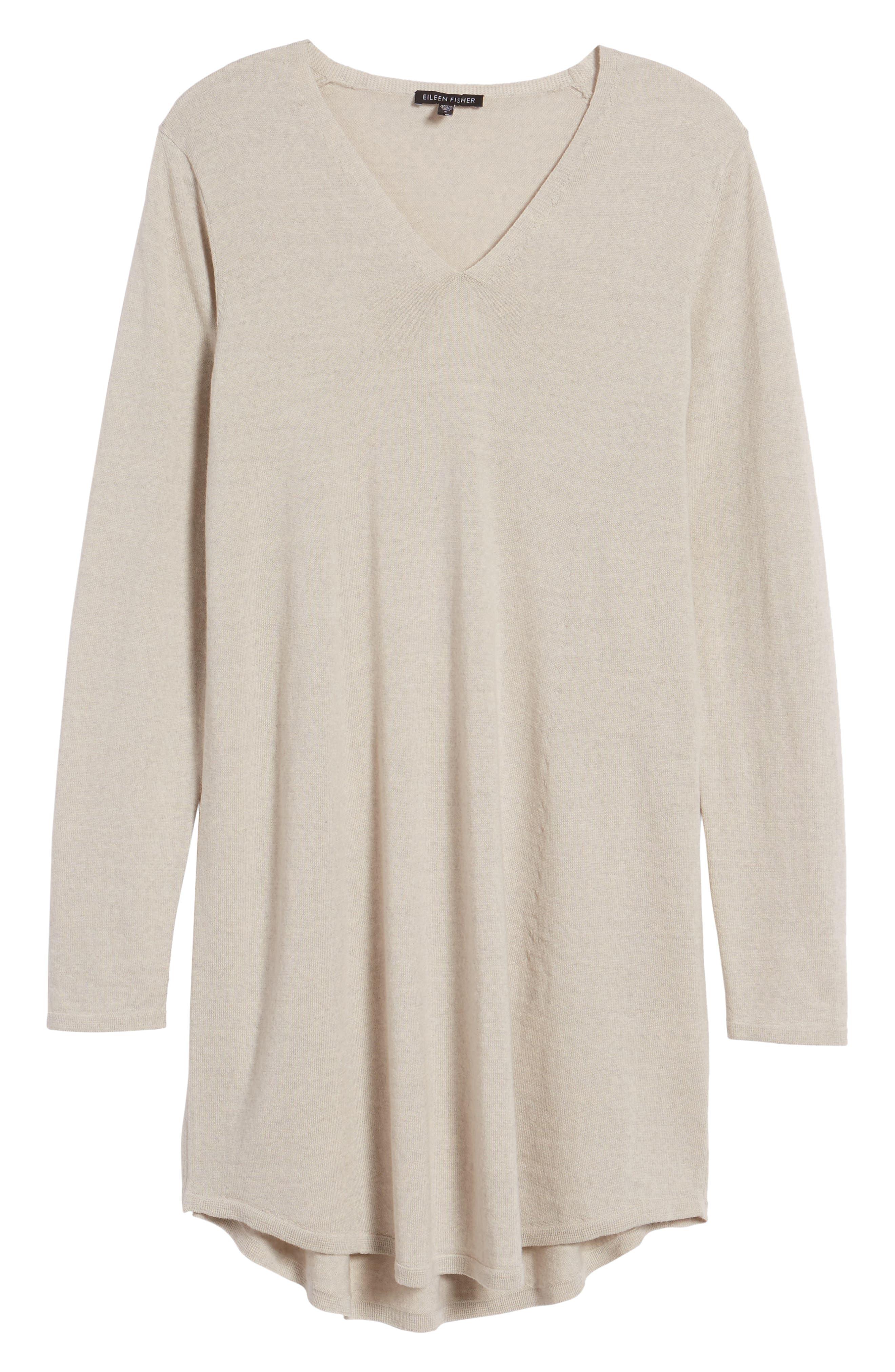Main Image - Eileen Fisher Lightweight Merino Jersey V-Neck Tunic (Regular & Petite)