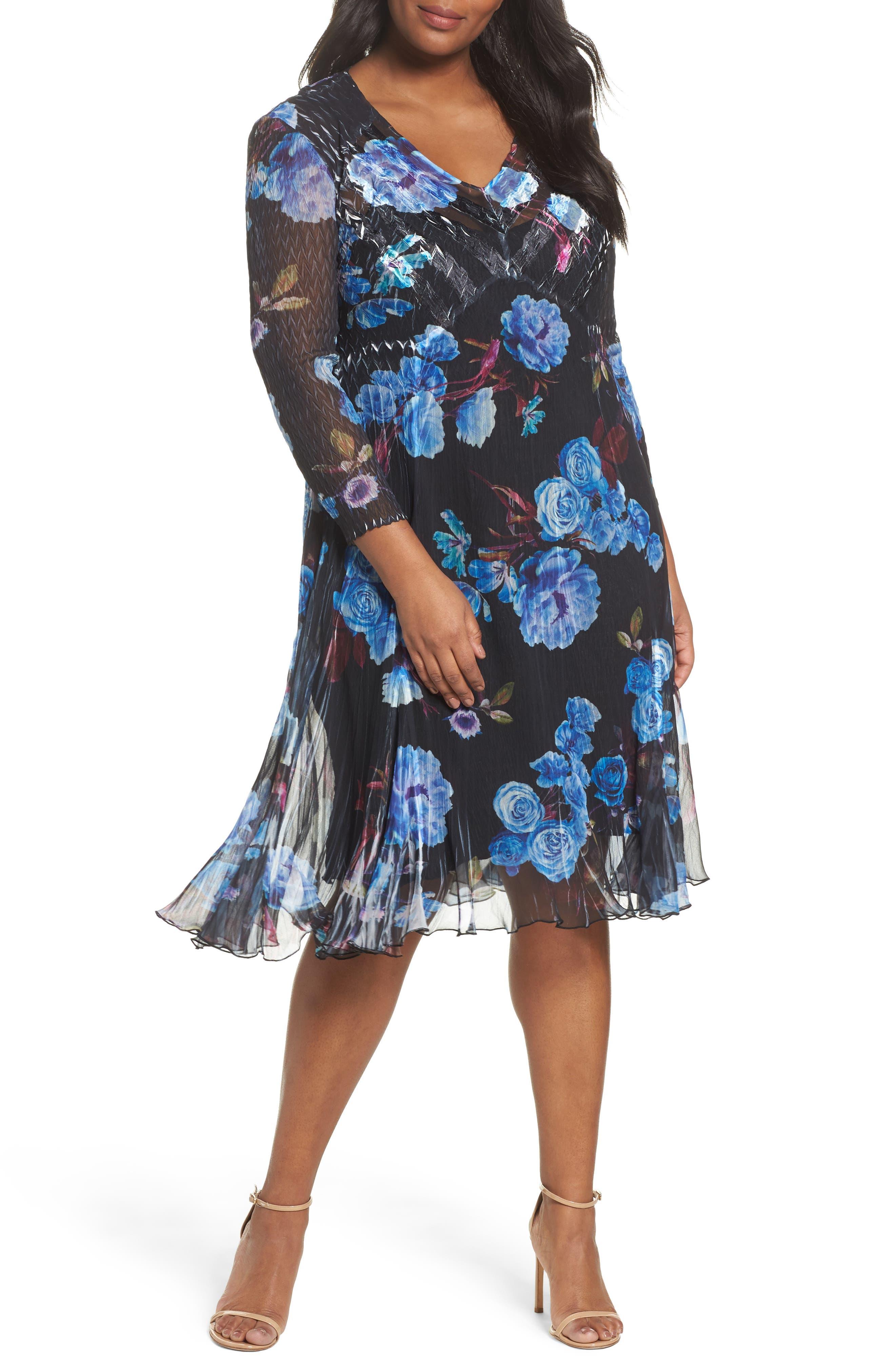 Floral Charmeuse & Chiffon A-Line Dress,                             Main thumbnail 1, color,                             Midnight Aurora