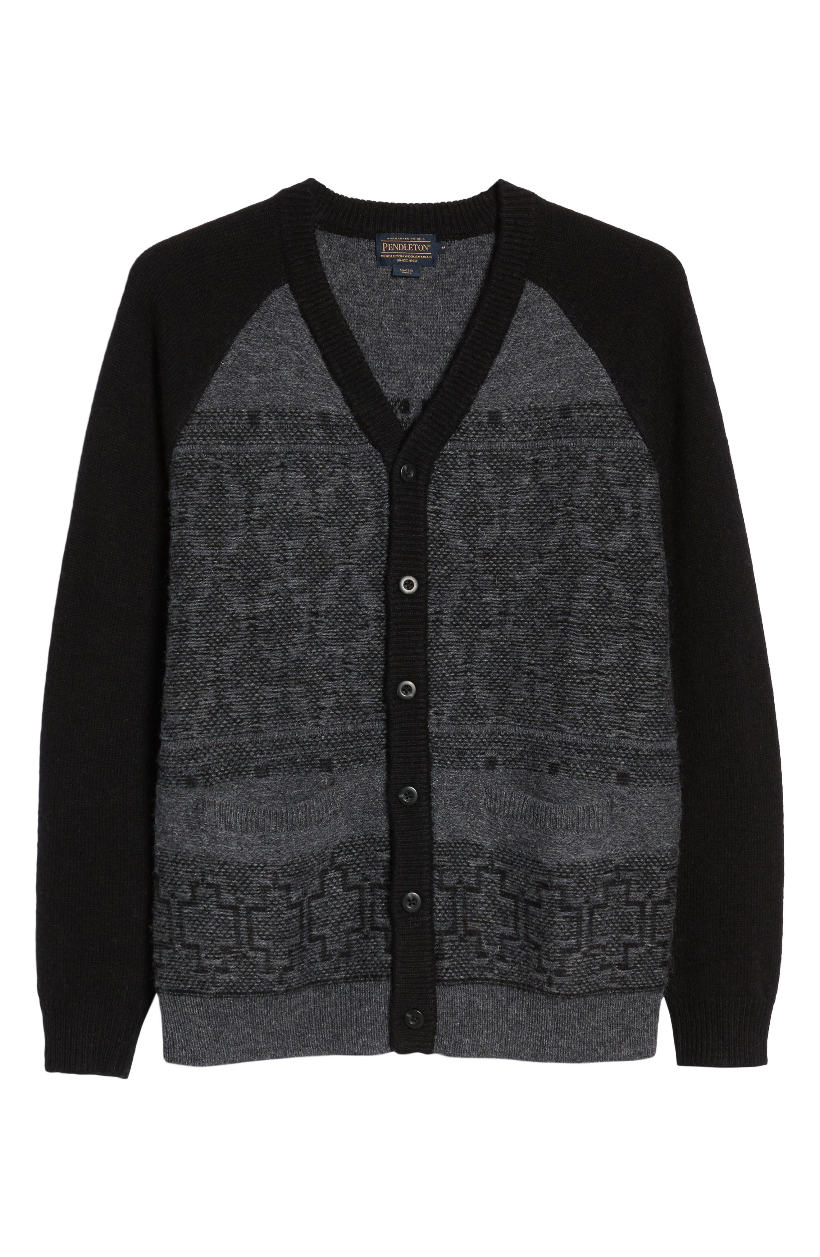 Waverly Cardigan,                             Alternate thumbnail 6, color,                             Grey/ Black
