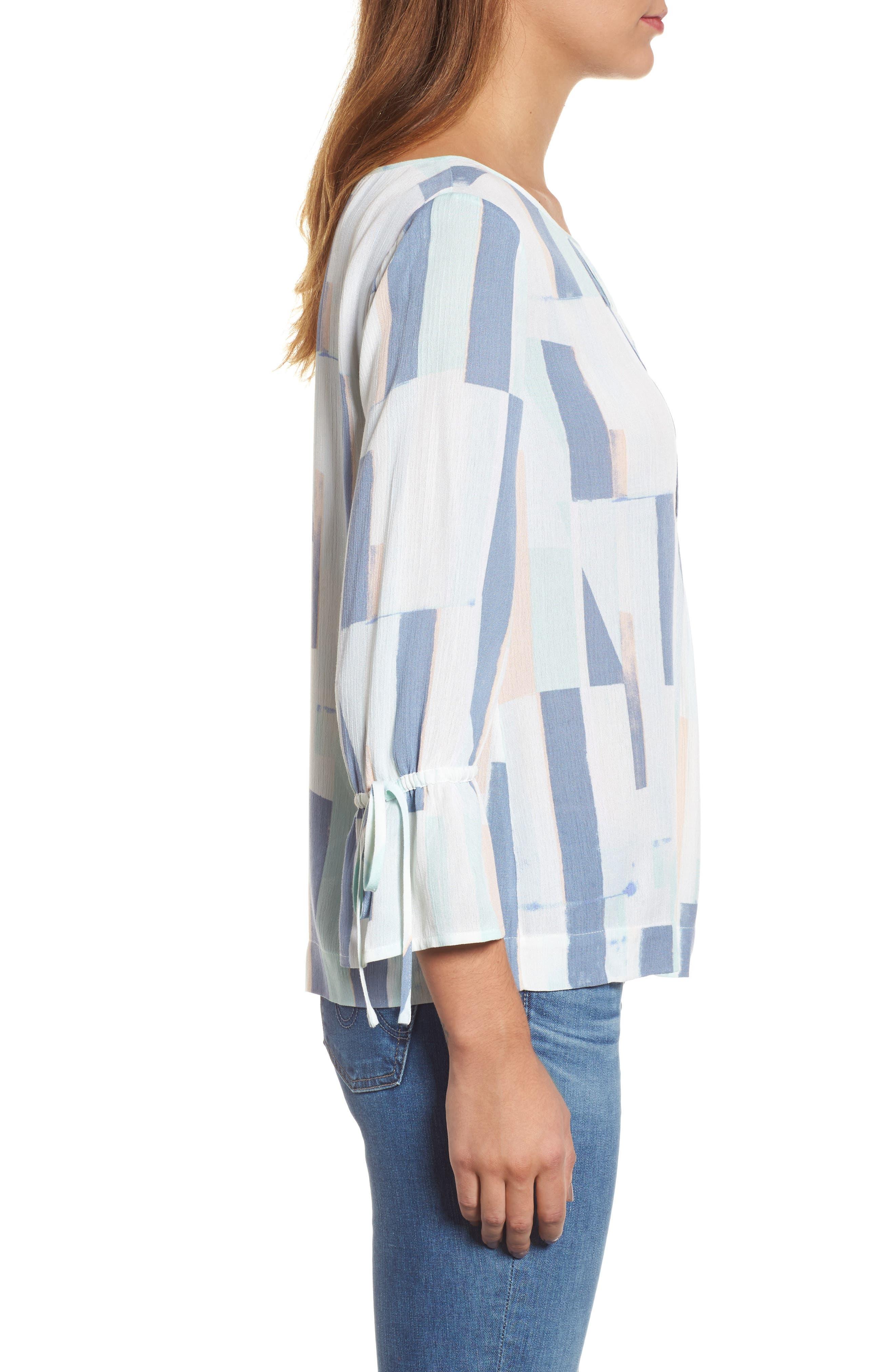Printed Tie Sleeve Blouse,                             Alternate thumbnail 3, color,                             Teal- White Geo