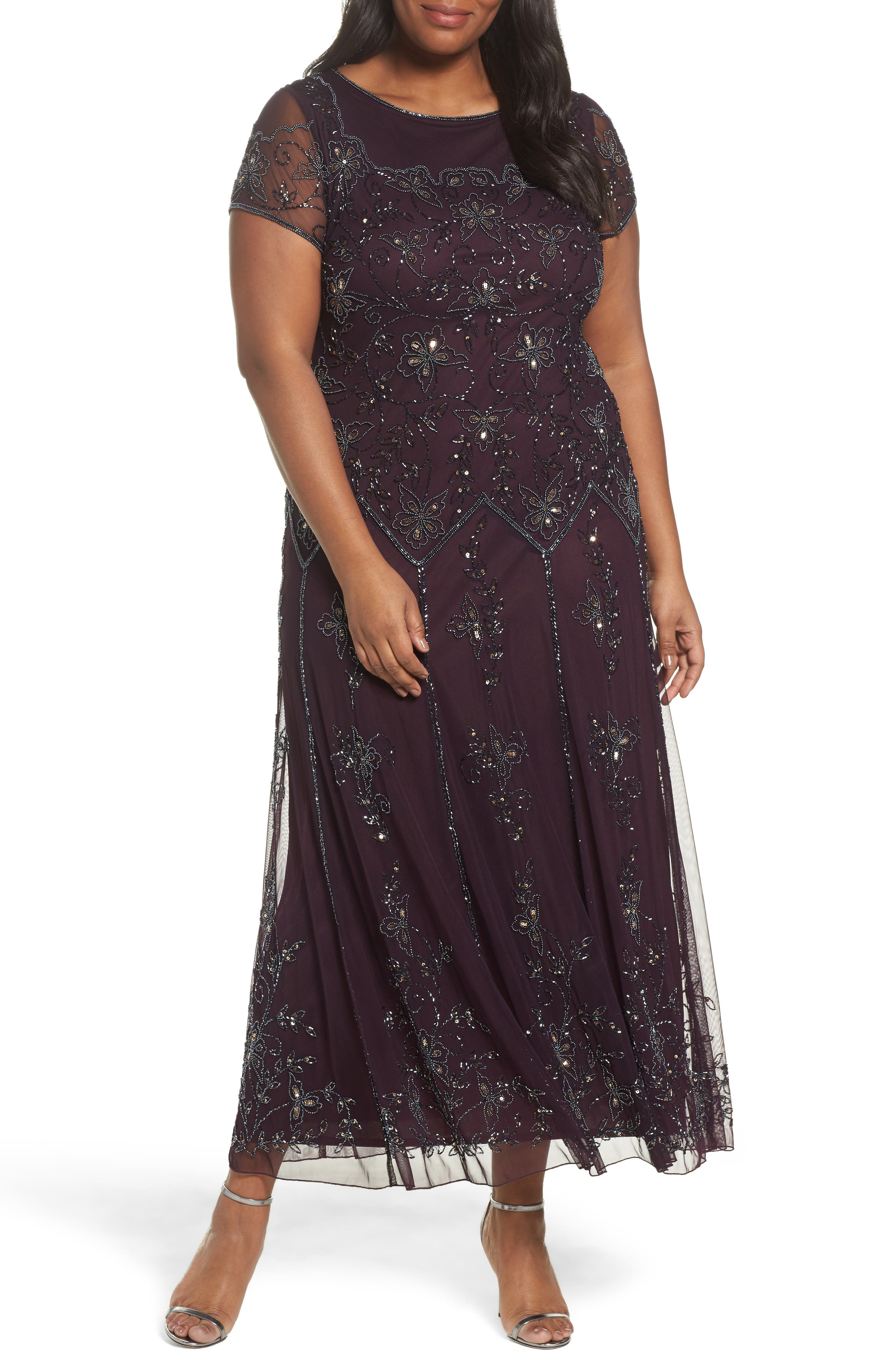 Main Image - Pisarro Nights Embeelished Cap Sleeve Gown (Plus Size)