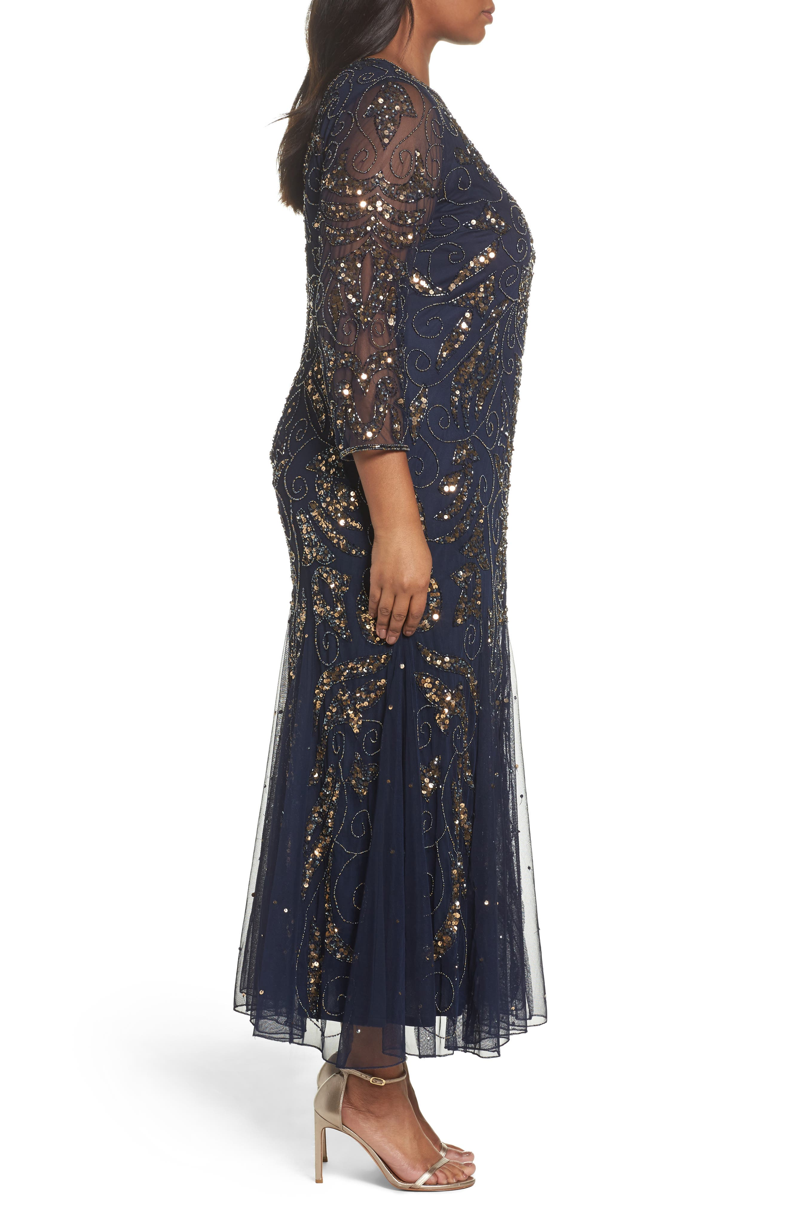 Embellished Three Quarter Sleeve Gown,                             Alternate thumbnail 3, color,                             Navy/ Gold