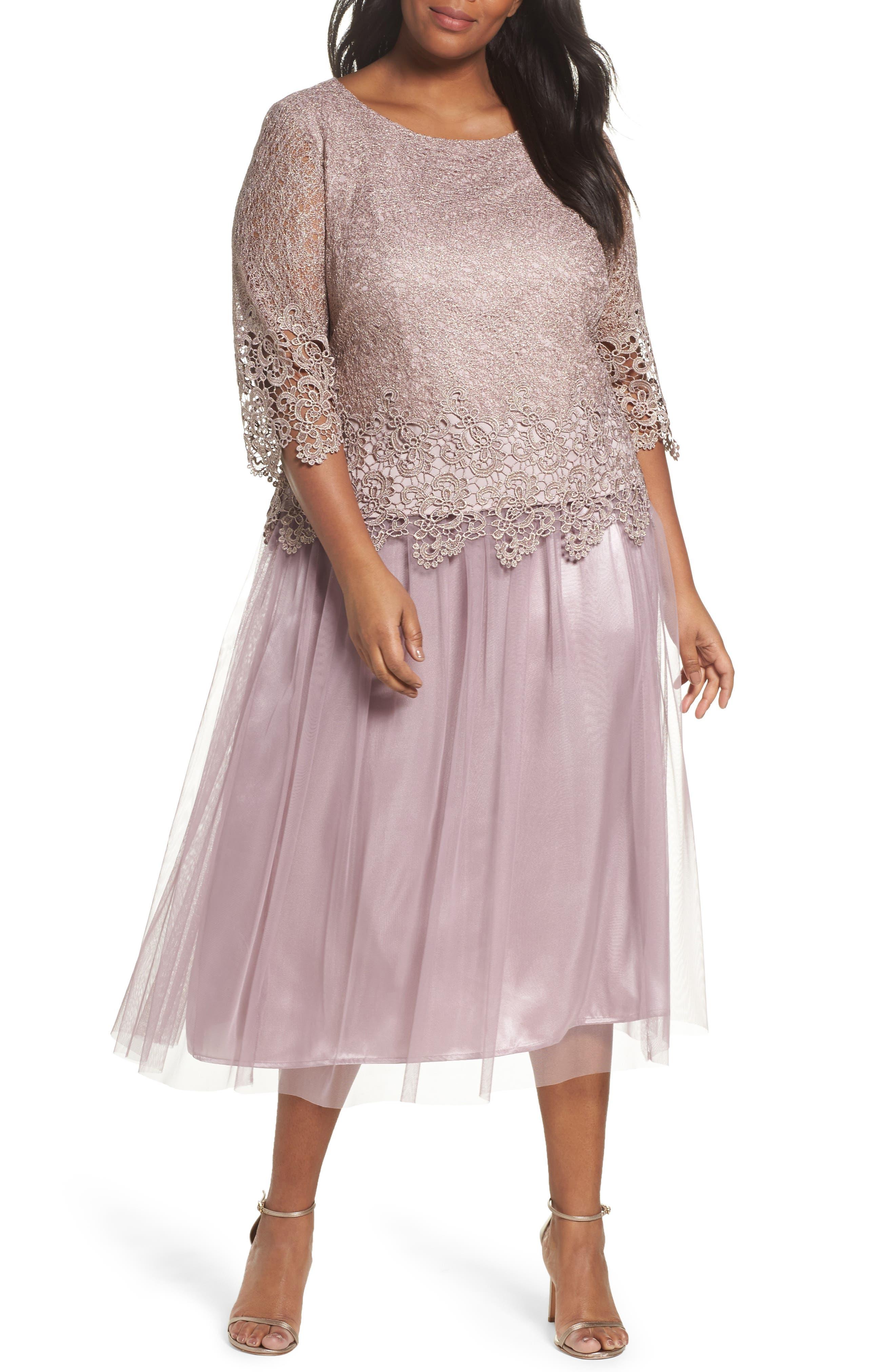 Embellished Mock Two-Piece Tea Length Dress,                         Main,                         color, Rose