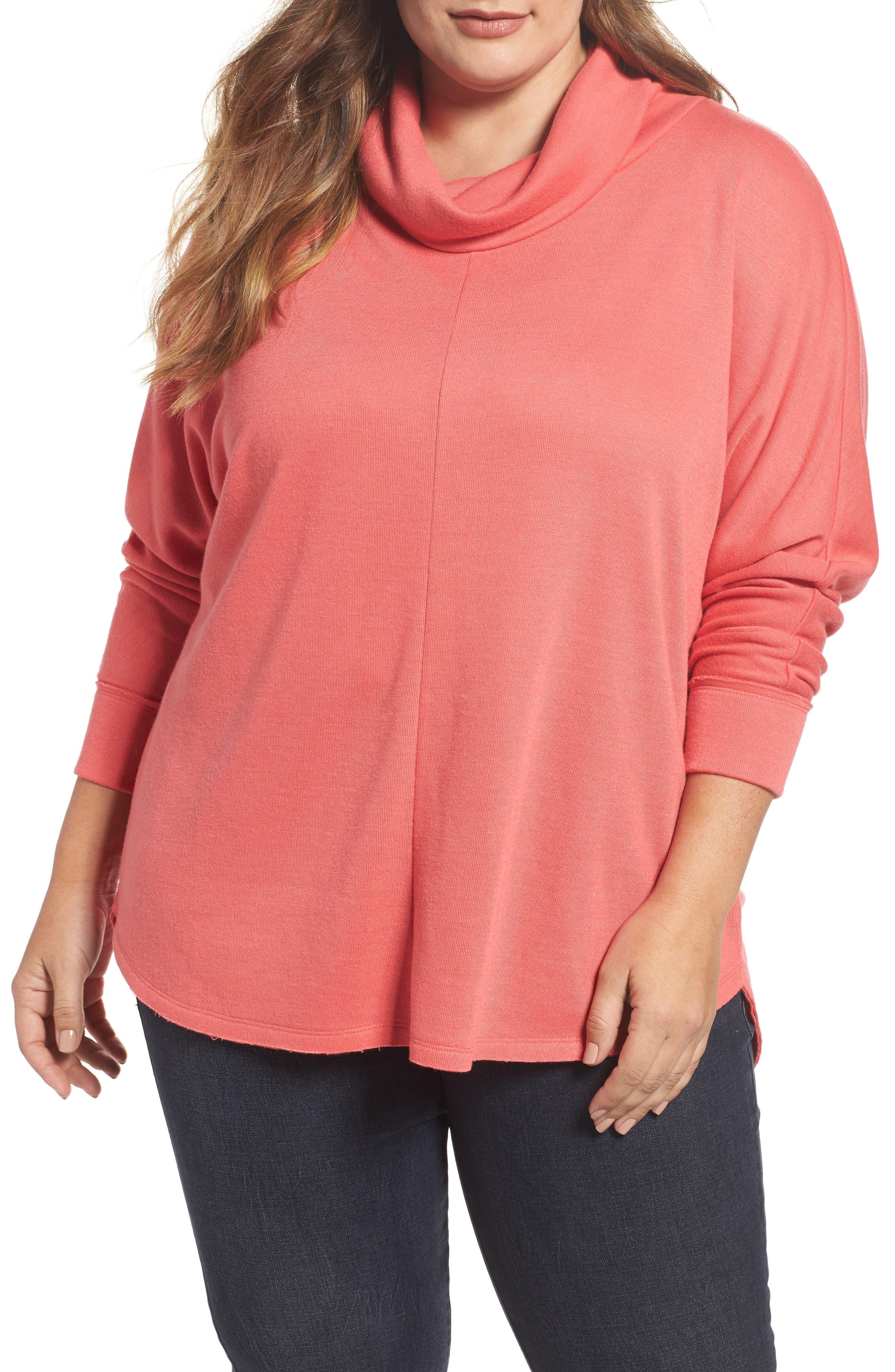 Caslon® Cowl Neck Pullover (Plus Size)