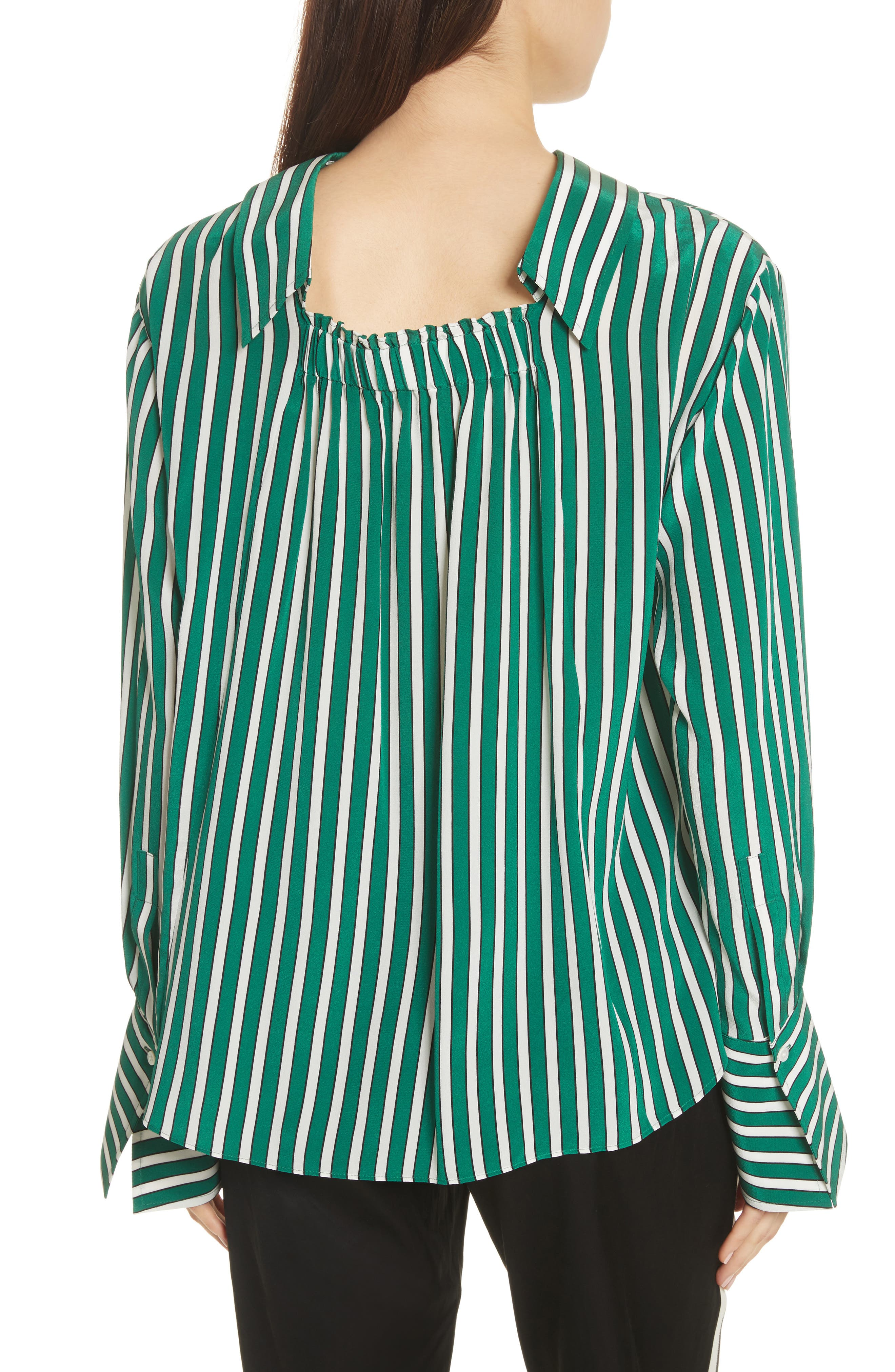 Alternate Image 2  - Robert Rodriguez Large Stripe Gathered Back Silk Shirt