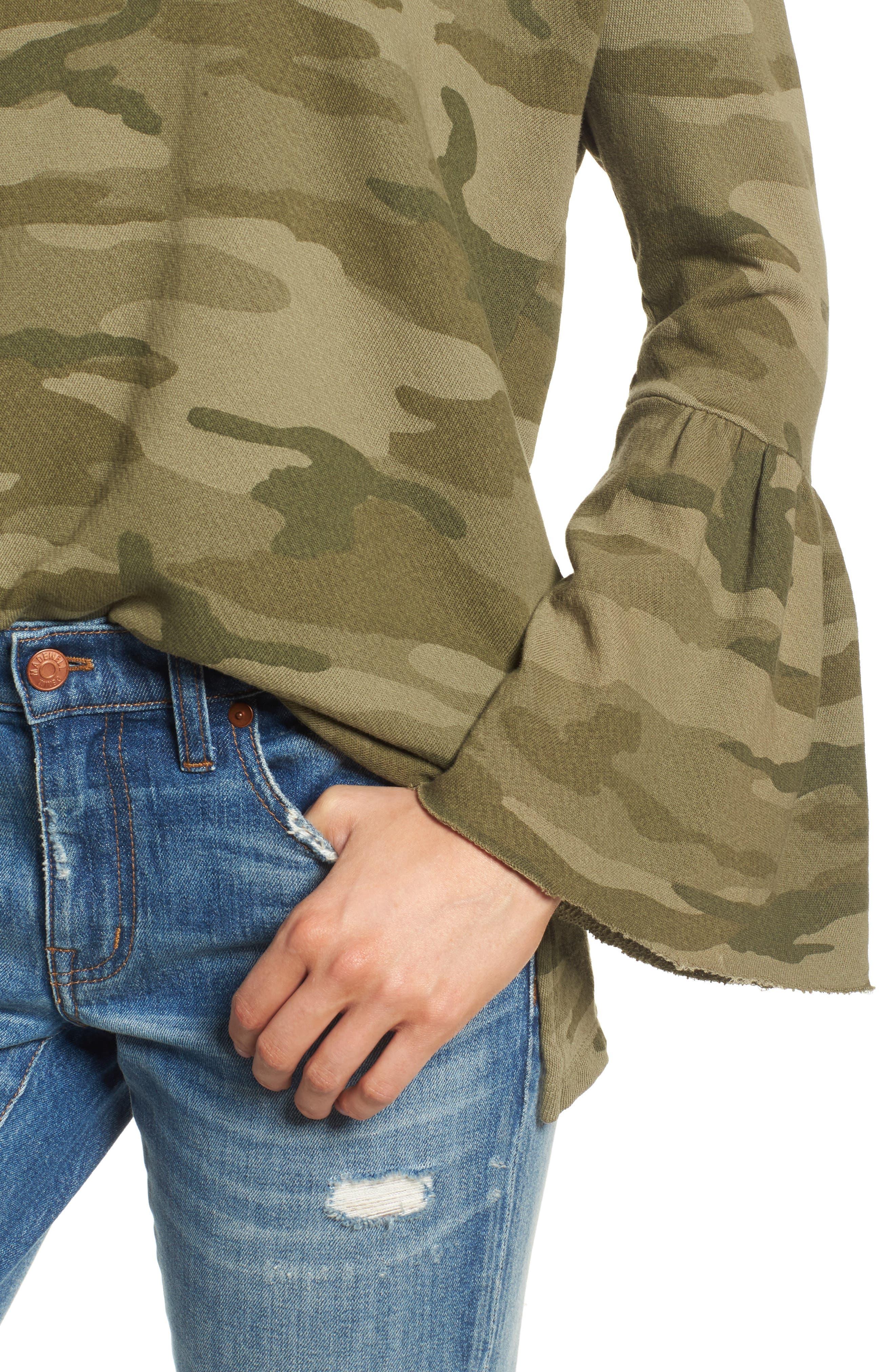 The Ruffle Sleeve Sweatshirt,                             Alternate thumbnail 4, color,                             Essentials Camo