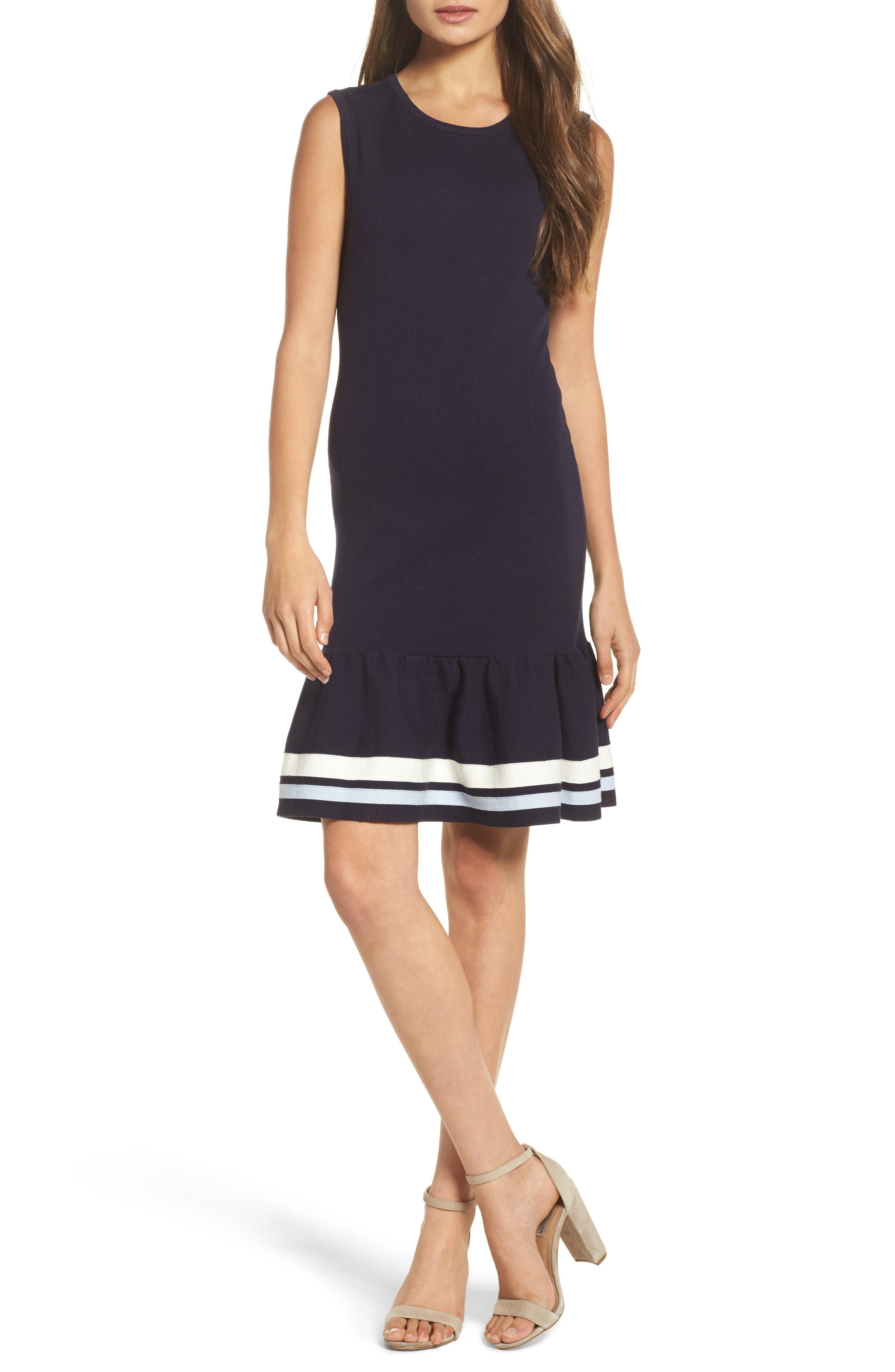 Peplum Hem Sweater Dress,                         Main,                         color, Navy Sapphire