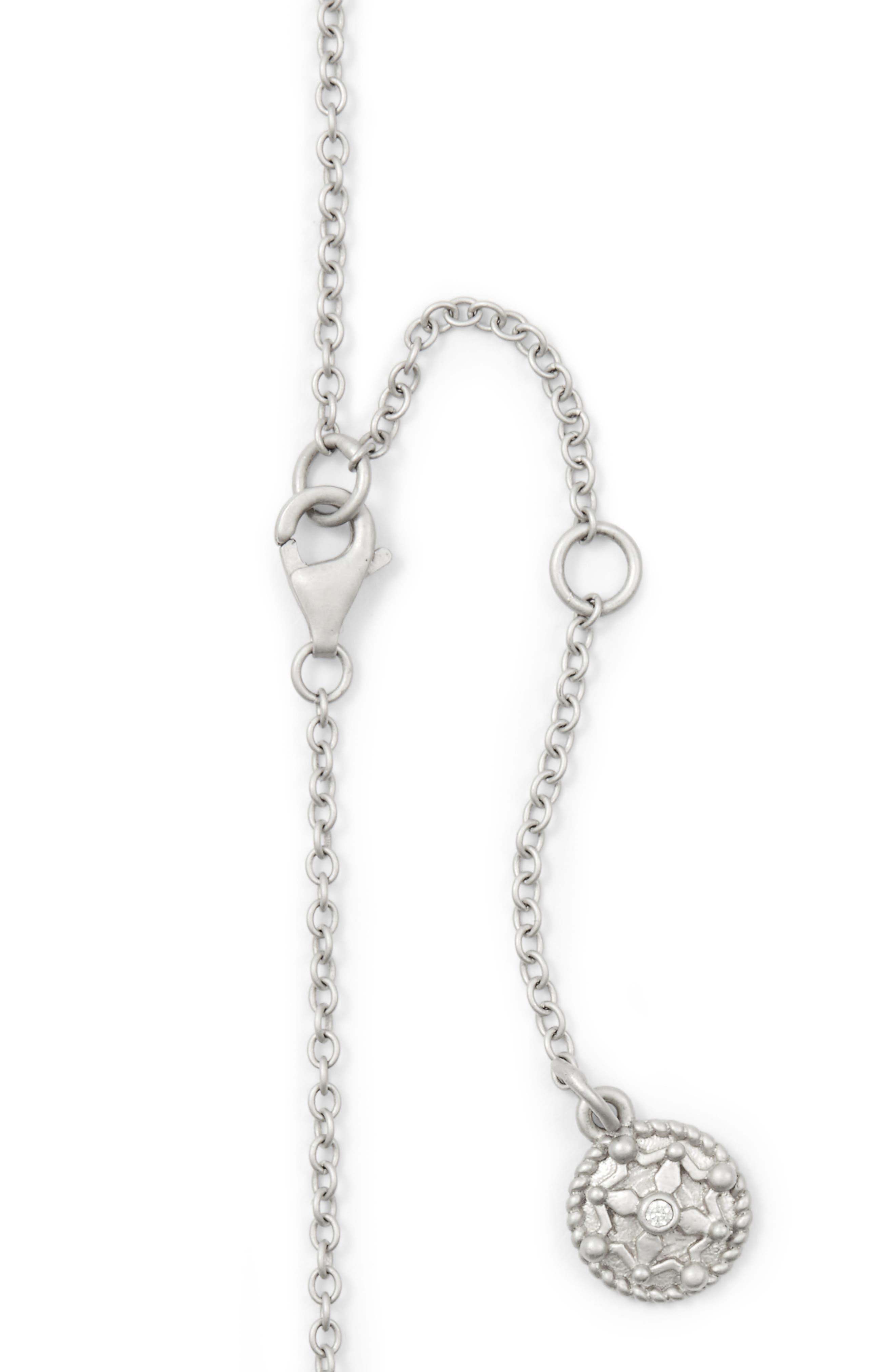 Contemporary Deco Celestial Pendant Necklace,                             Alternate thumbnail 5, color,                             Silver/ Black