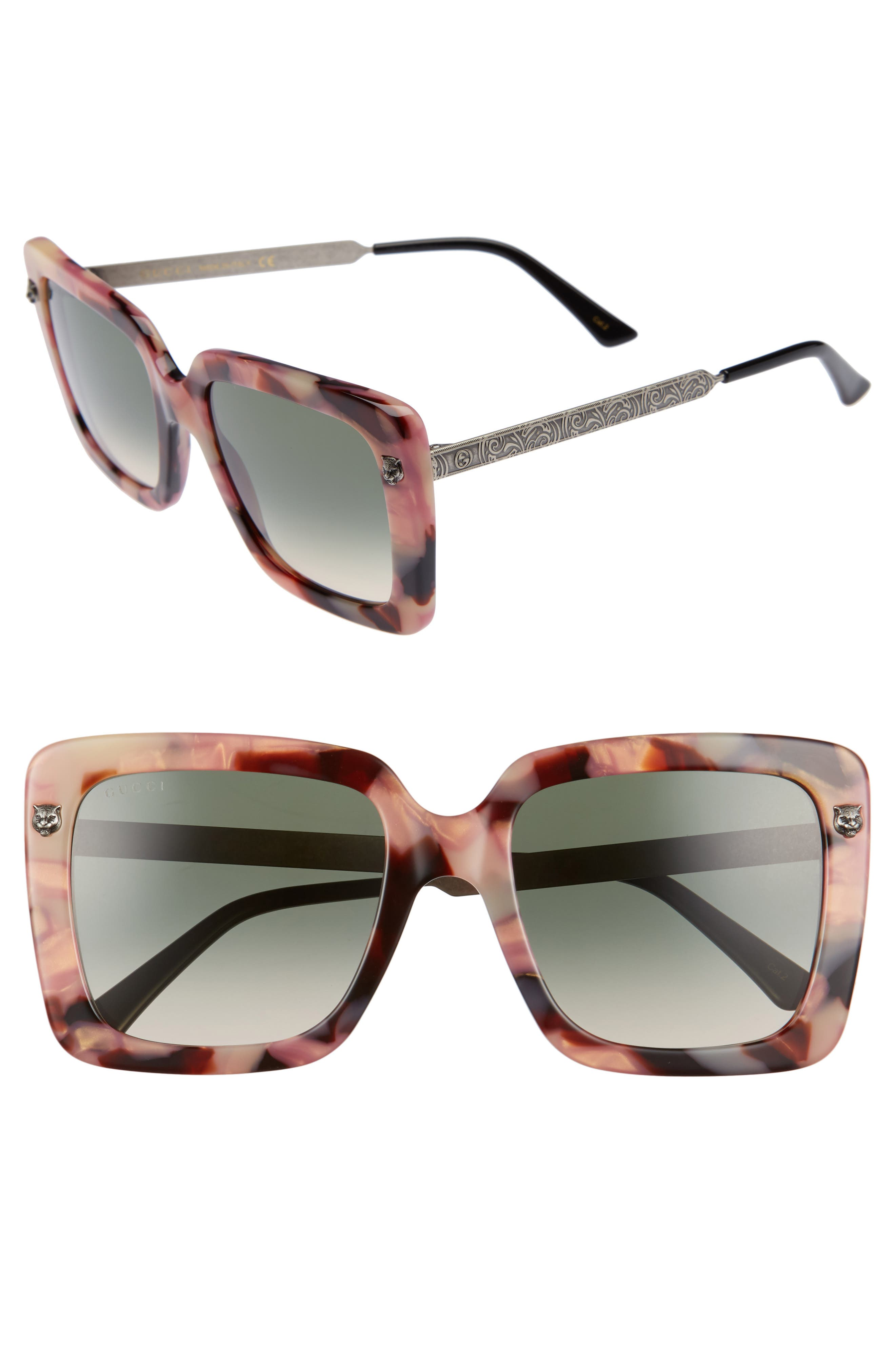 53mm Square Sunglasses,                             Main thumbnail 1, color,                             Havana