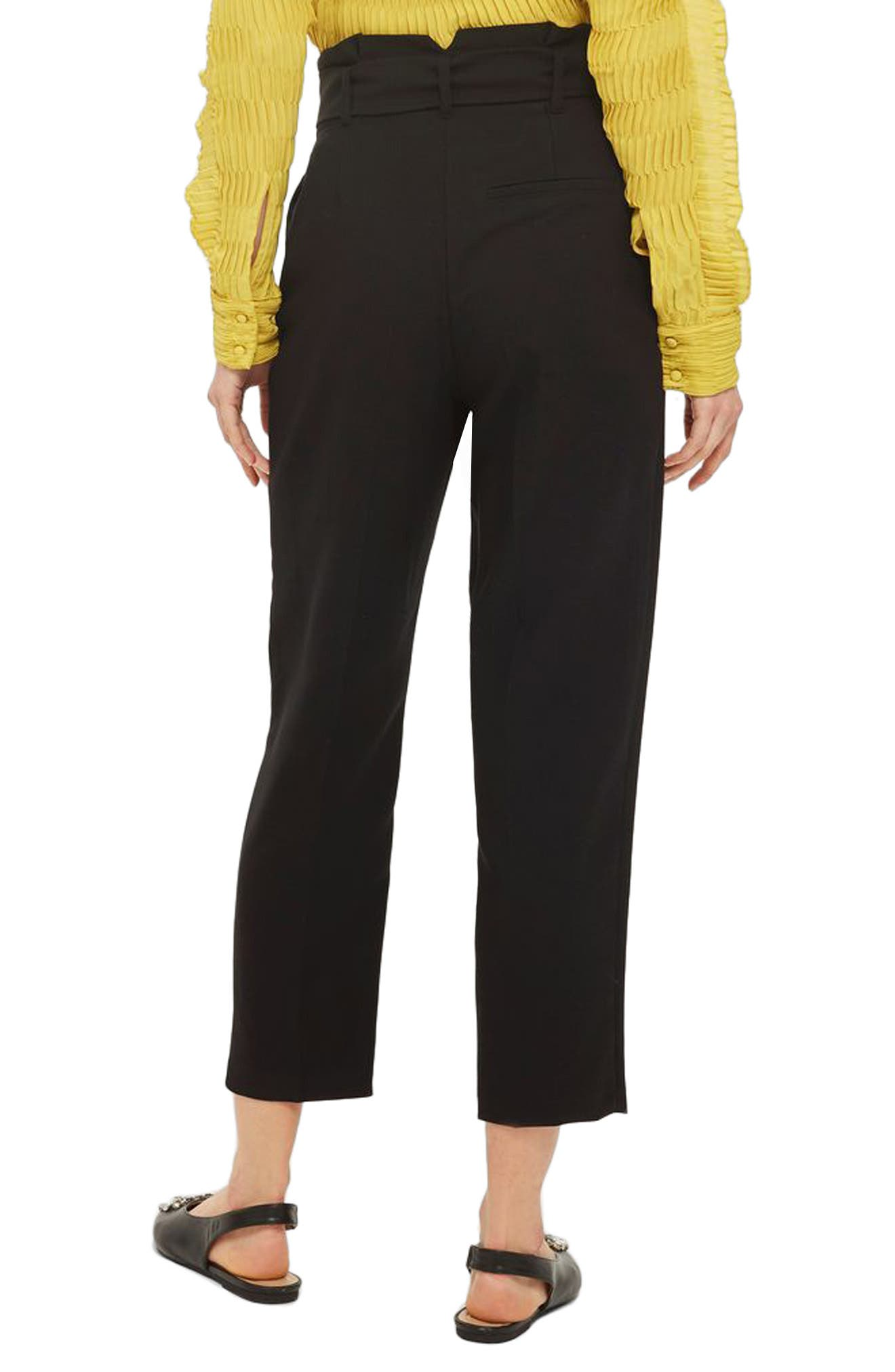 Belted Paperbag Peg Trousers,                             Alternate thumbnail 2, color,                             Black