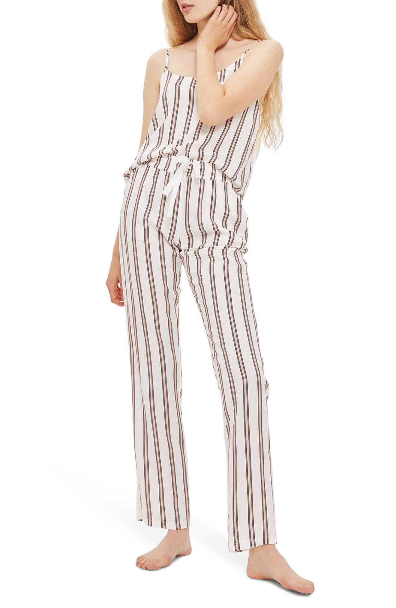 Spaced Stripe Pajamas,                         Main,                         color, Pink Multi