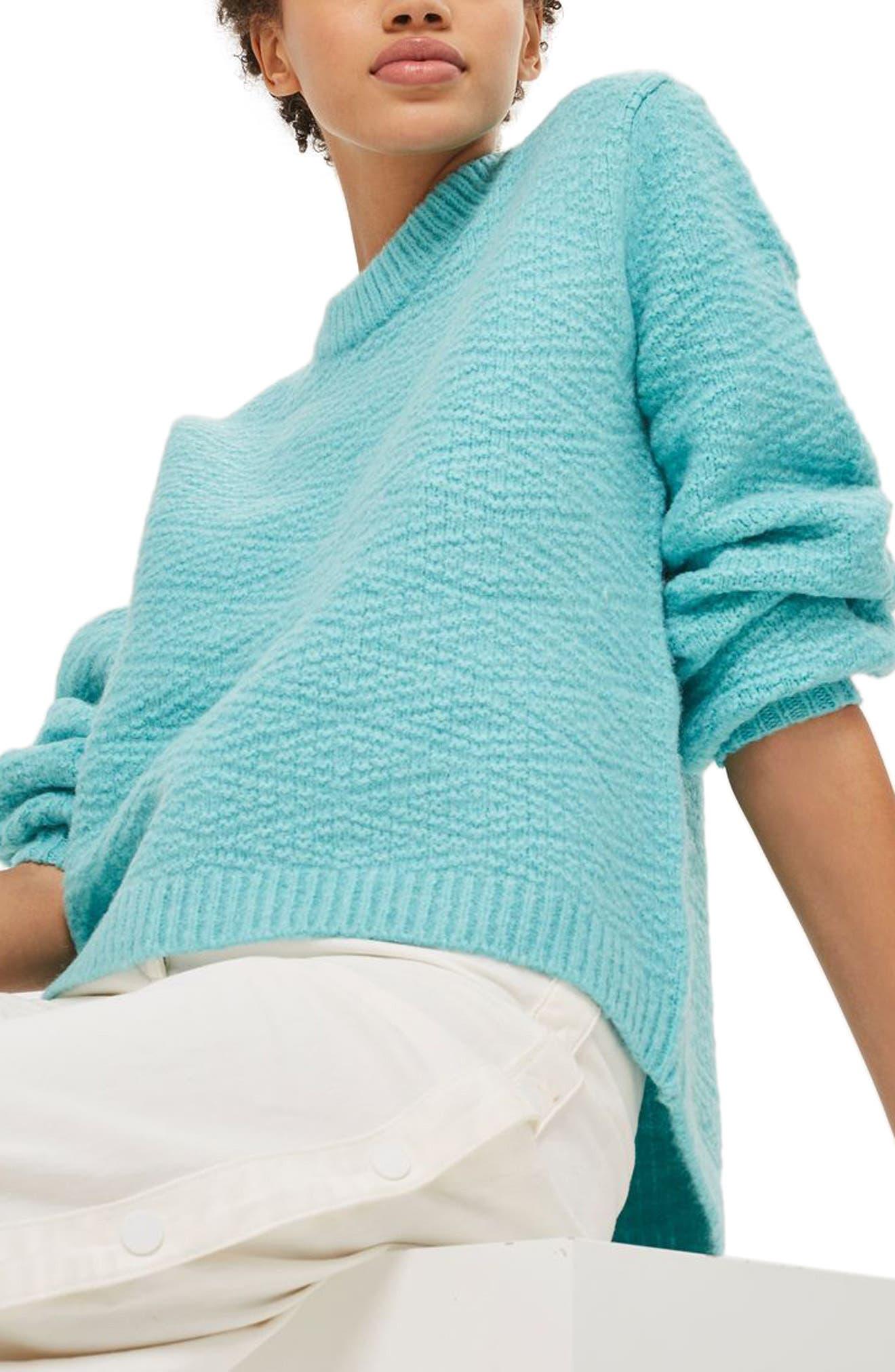 Main Image - Topshop Textured Balloon Sleeve Sweater