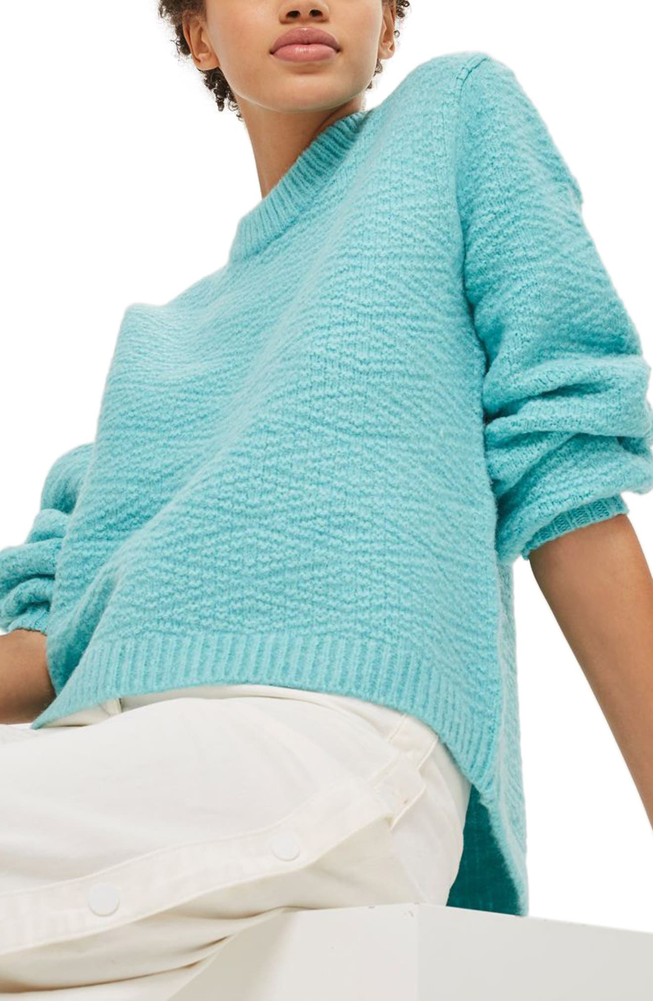 Textured Balloon Sleeve Sweater,                         Main,                         color, Turquoise
