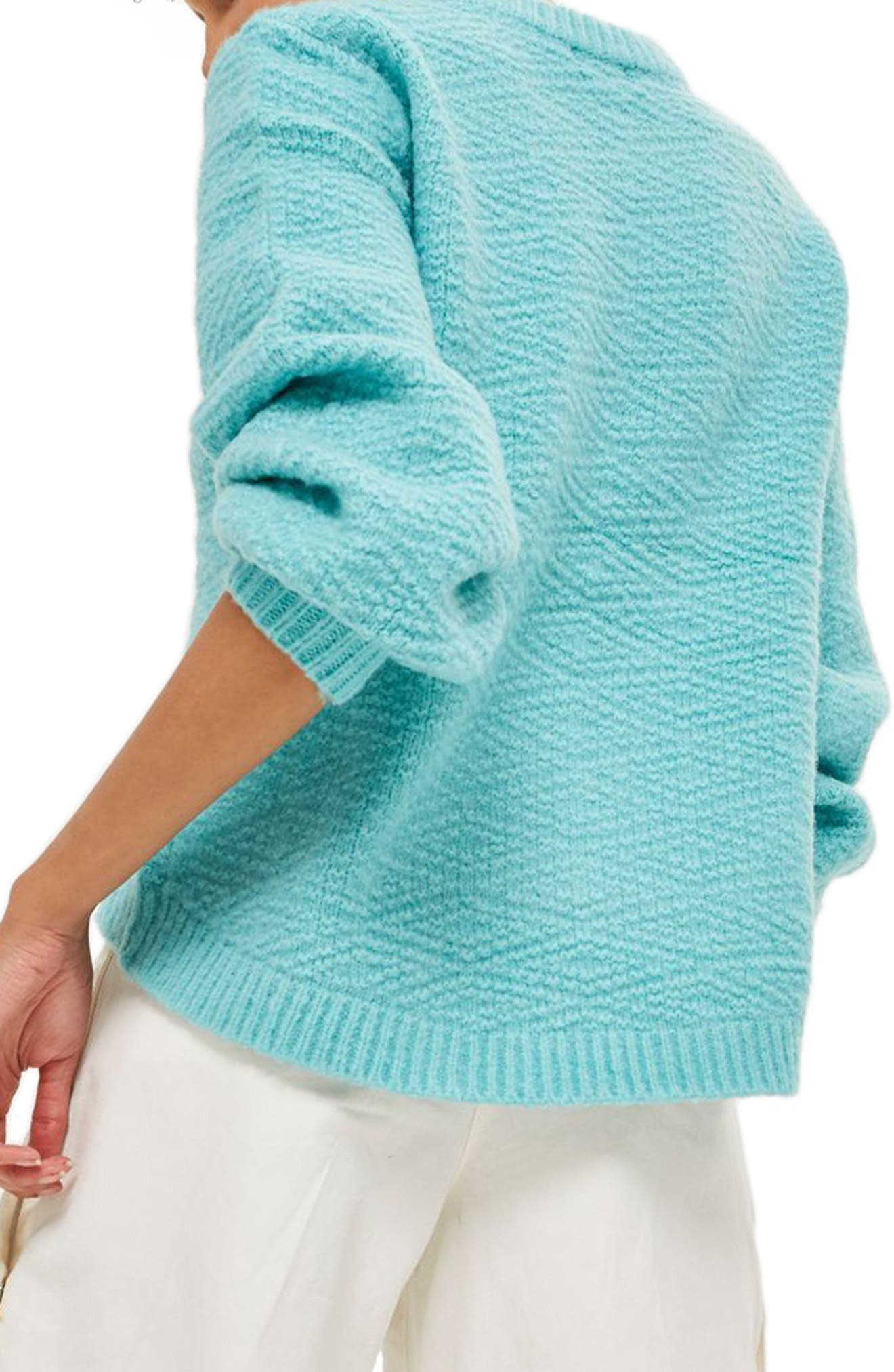 Textured Balloon Sleeve Sweater,                             Alternate thumbnail 2, color,                             Turquoise