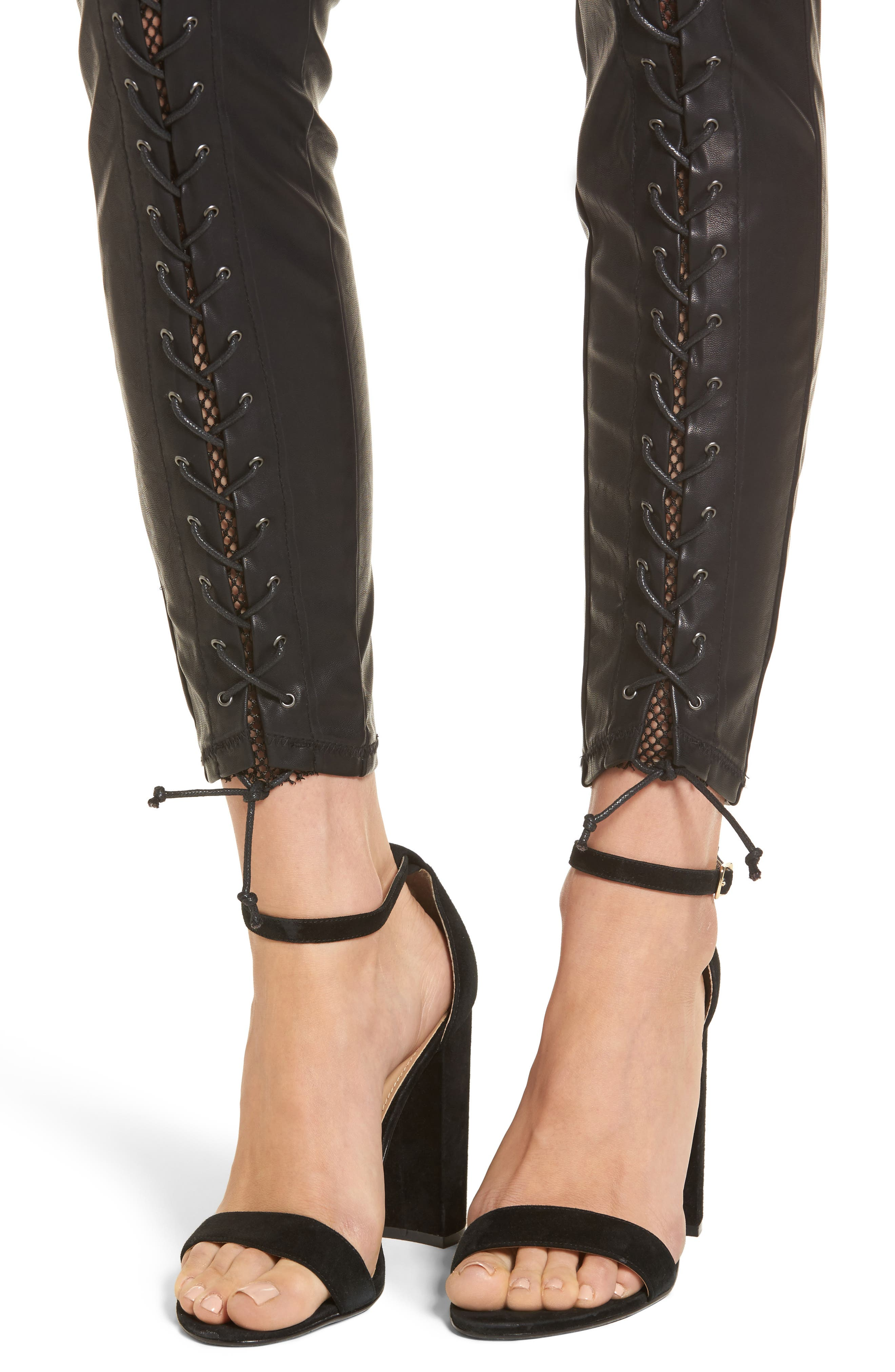 Lace-Up Faux Leather Pants,                             Alternate thumbnail 4, color,                             Easy Street